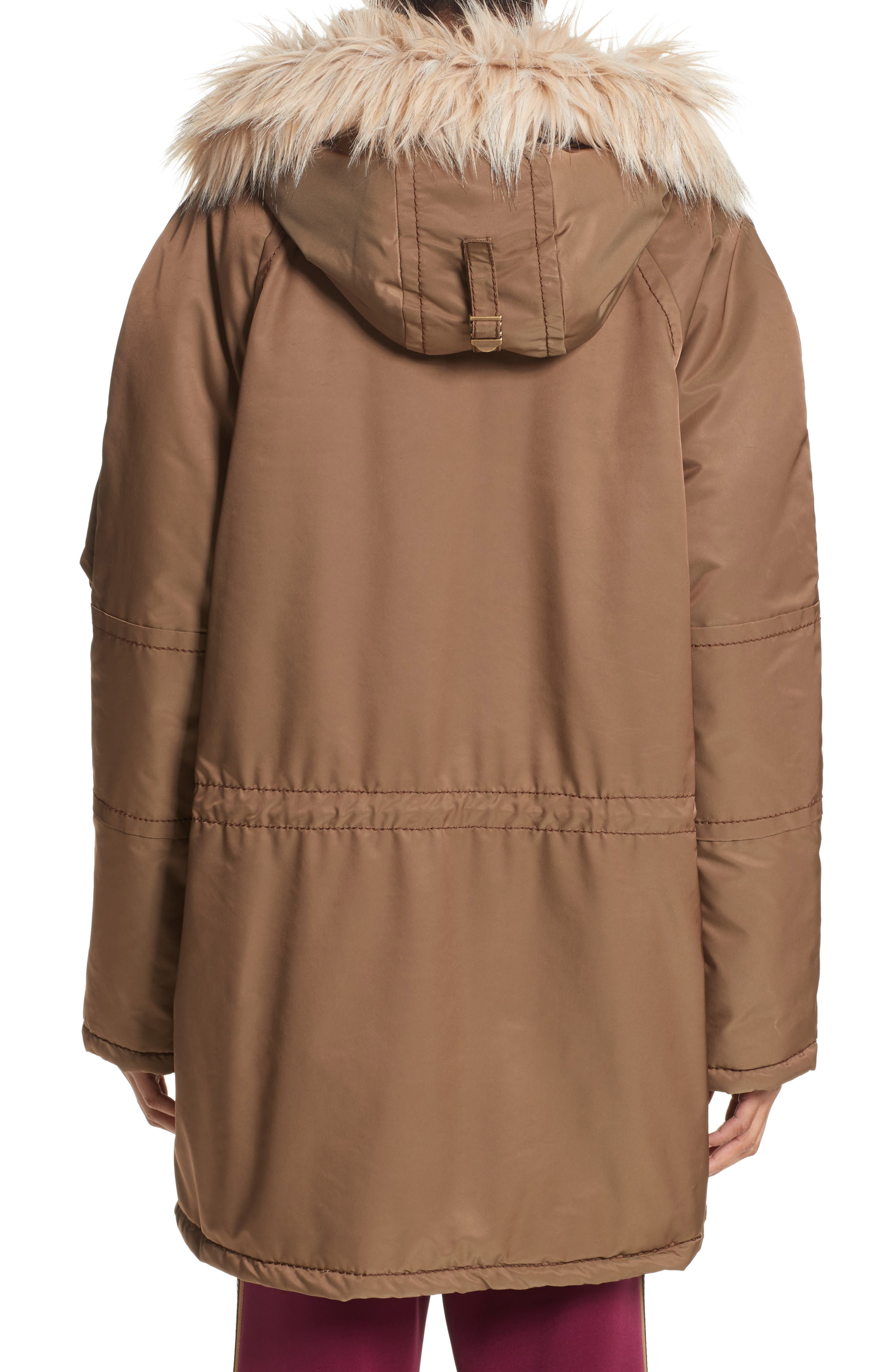 Parka with Faux Fur Trim Hood,                             Alternate thumbnail 2, color,                             Brown