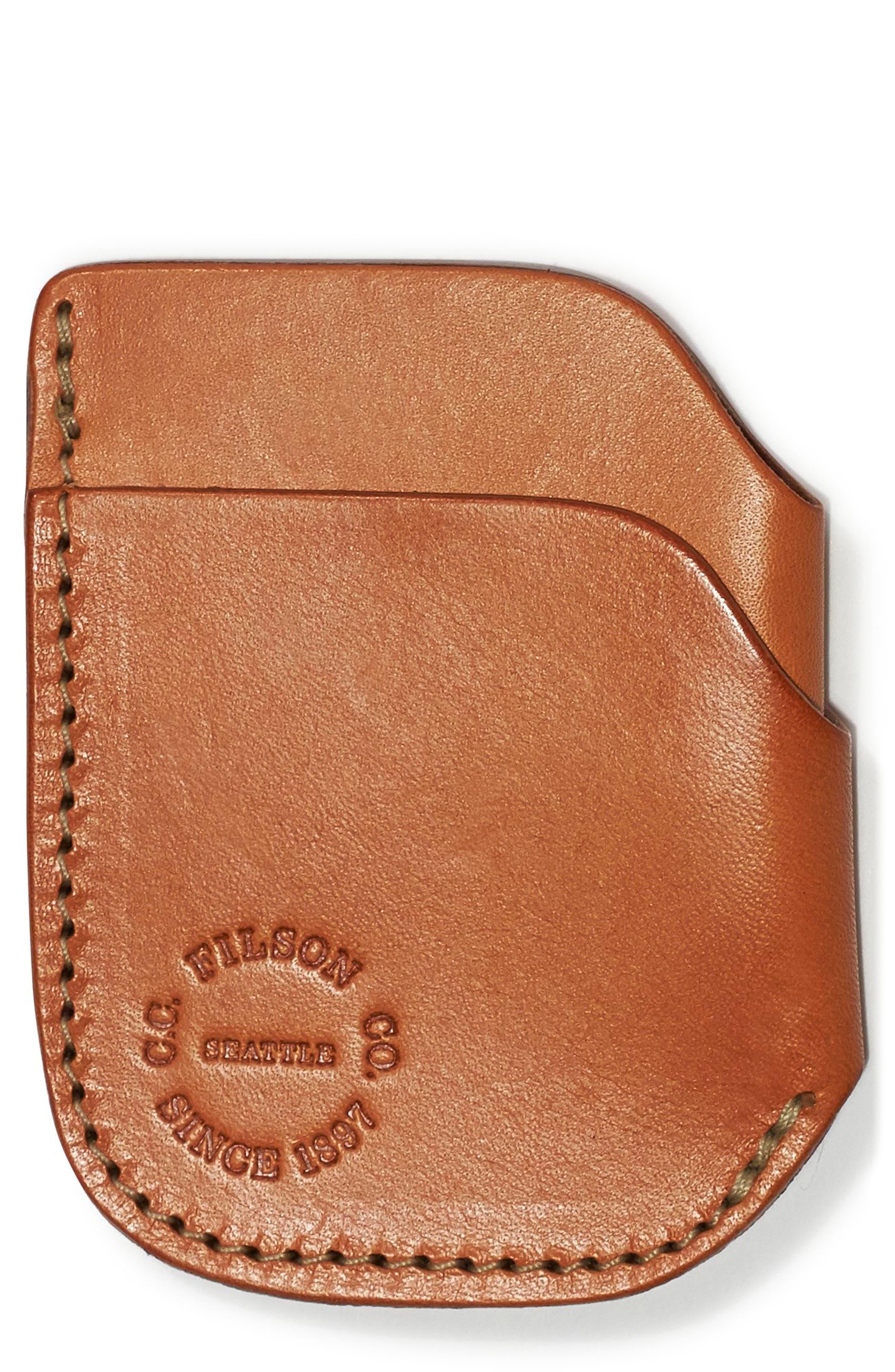 Leather Cash & Card Case,                             Main thumbnail 1, color,                             Tan Leather
