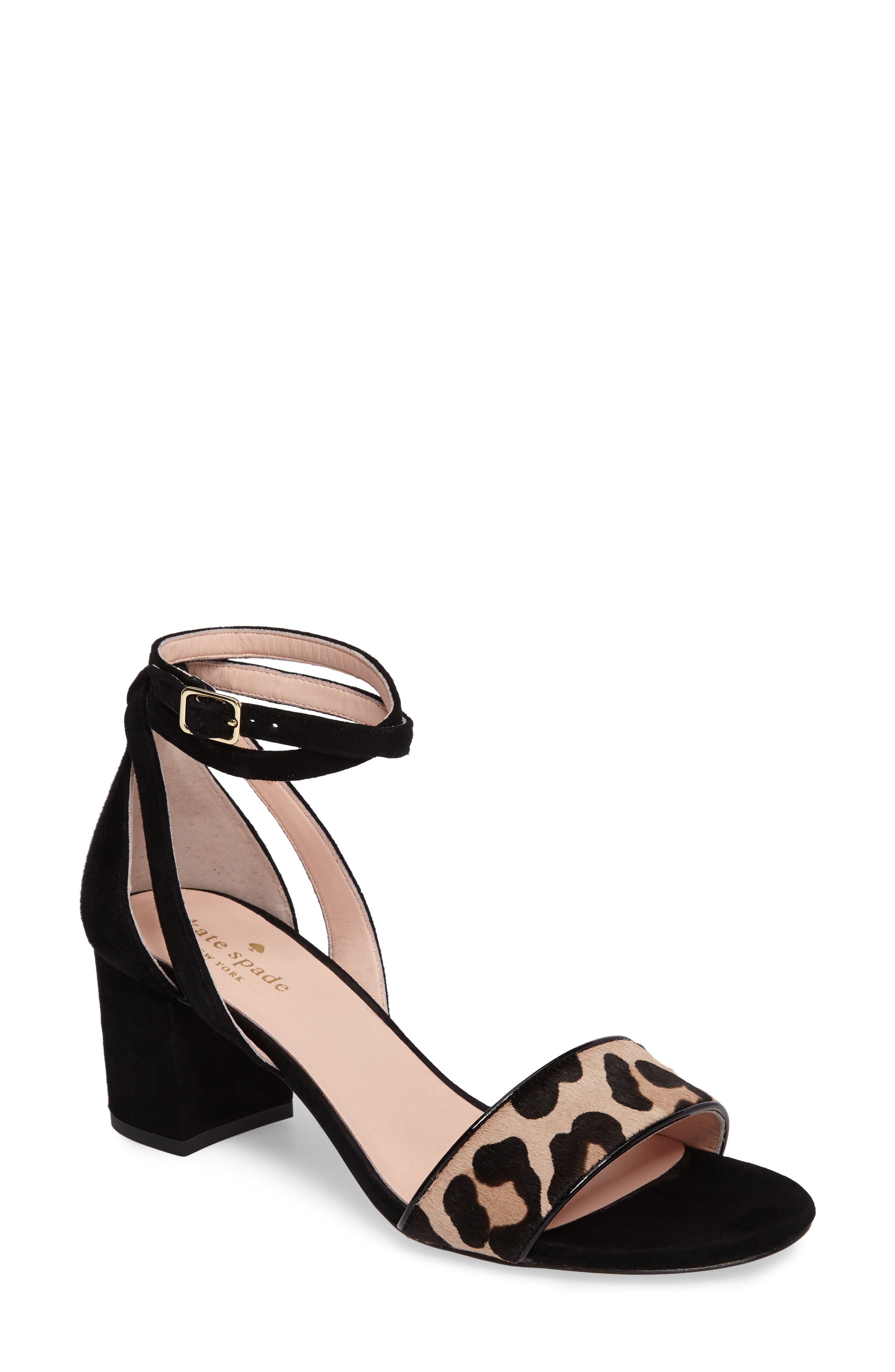 kate spade new york watson genuine calf hair block heel sandal (Women)