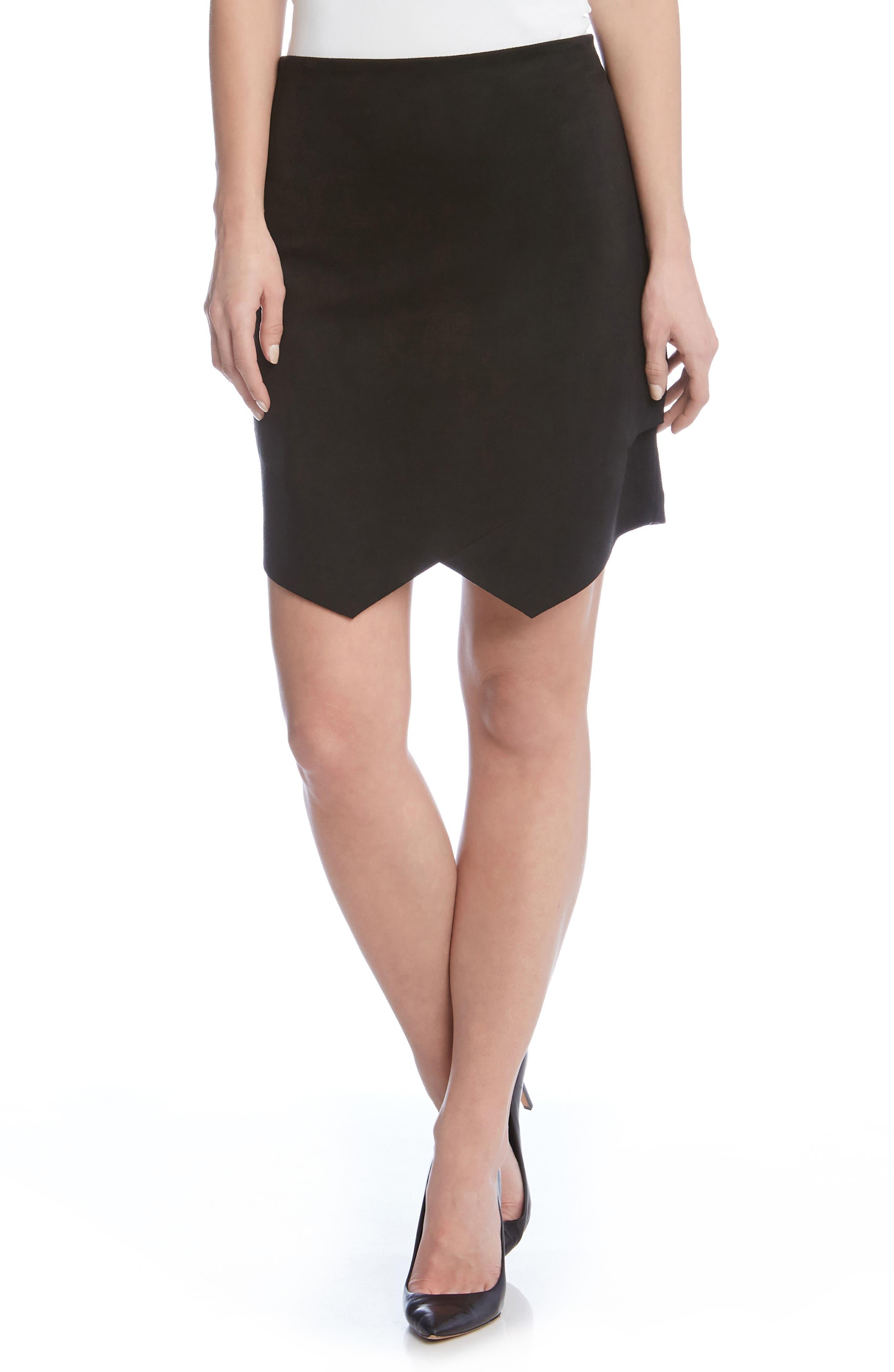 Asymmetrical Faux Suede Skirt,                         Main,                         color, Black