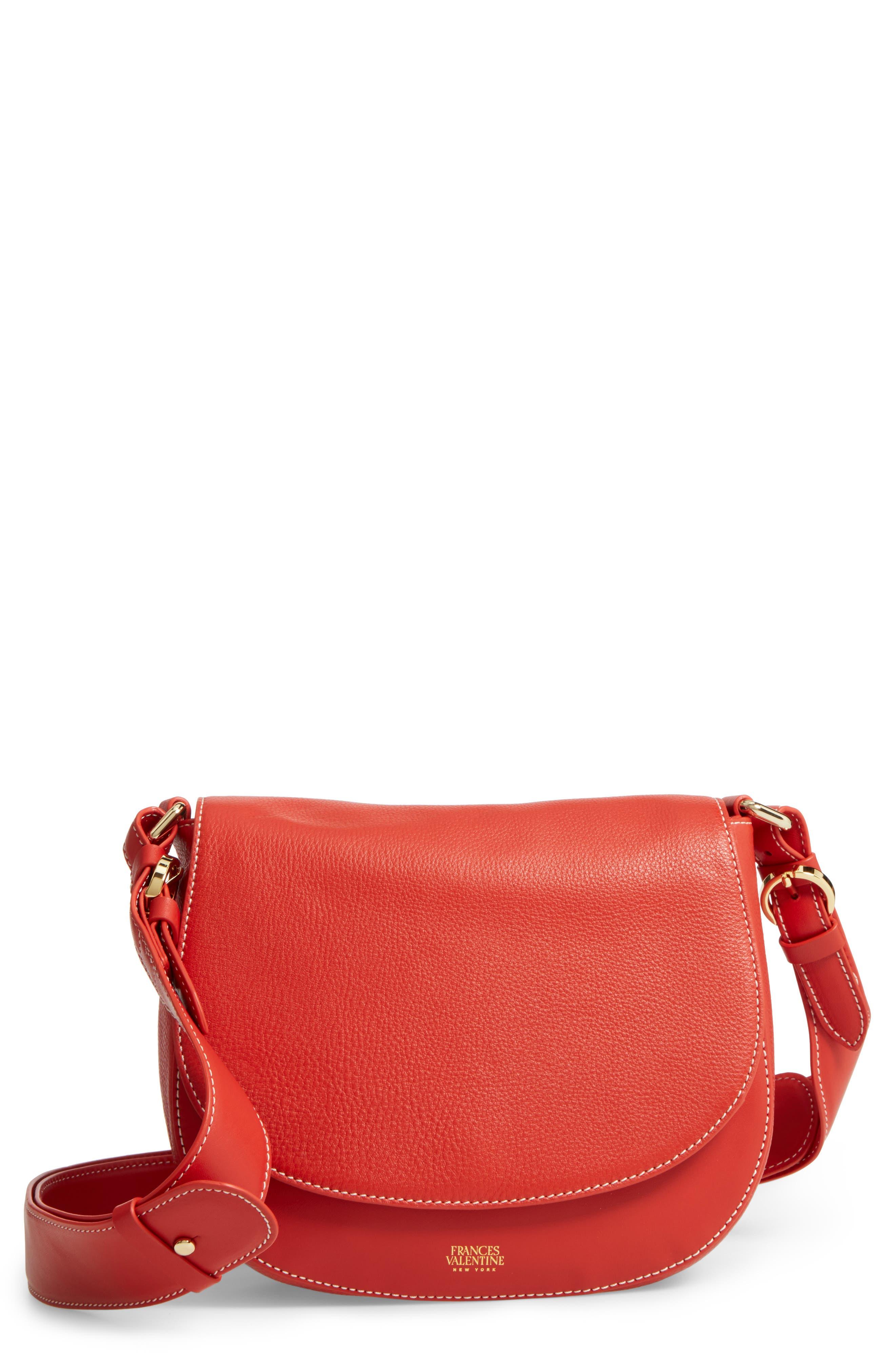 Small Ellen Leather Crossbody Bag,                             Main thumbnail 1, color,                             Coral