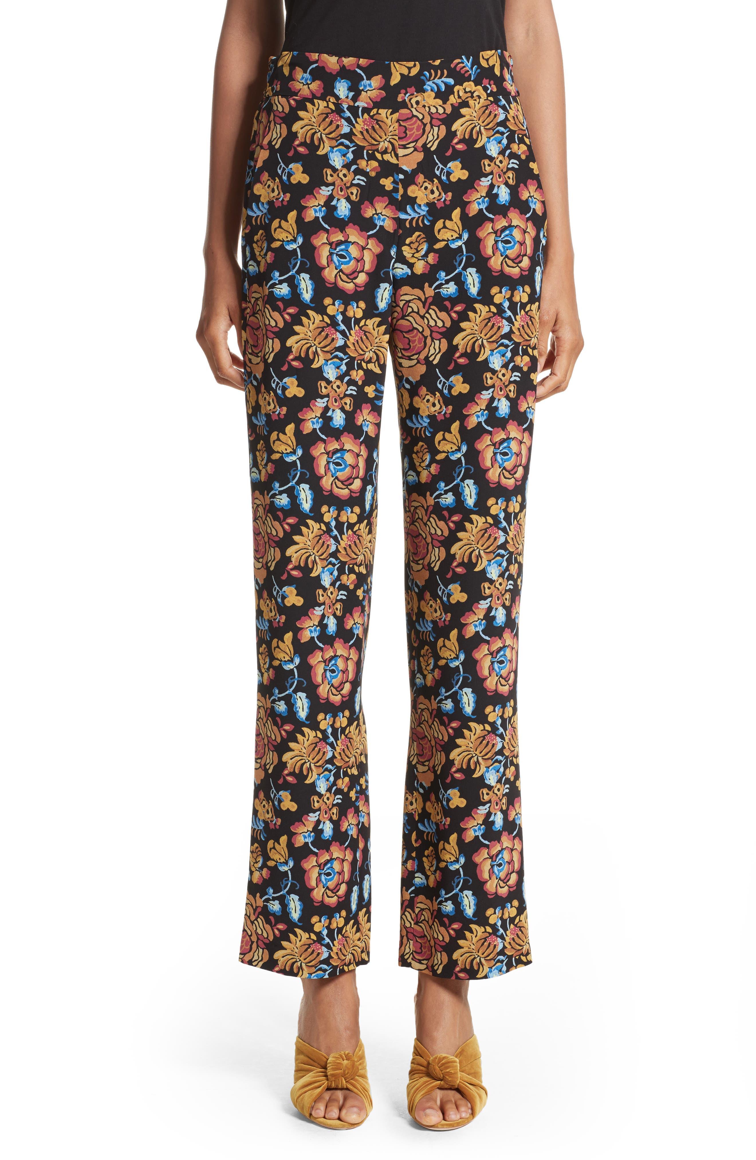 Floral Print Silk Pants,                         Main,                         color, Black Multi