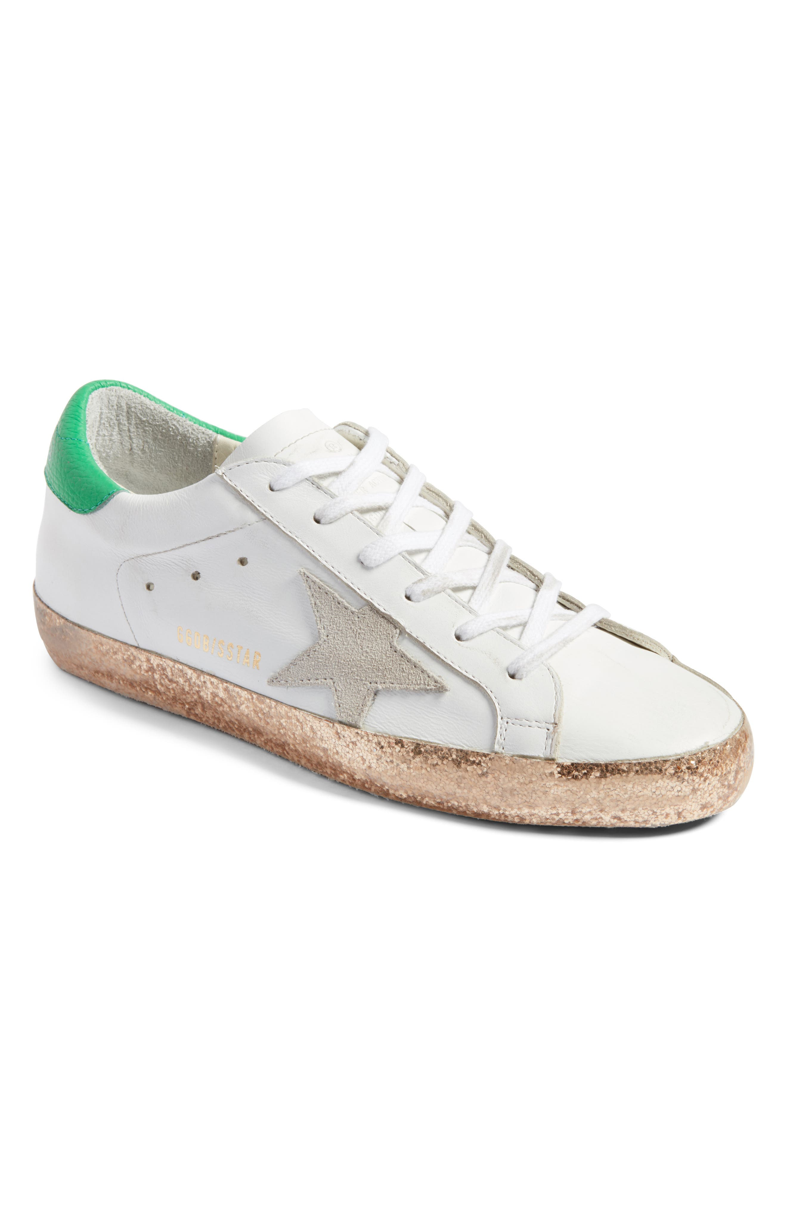 Superstar Low Top Sneaker,                             Main thumbnail 1, color,                             White Leather/ Gold