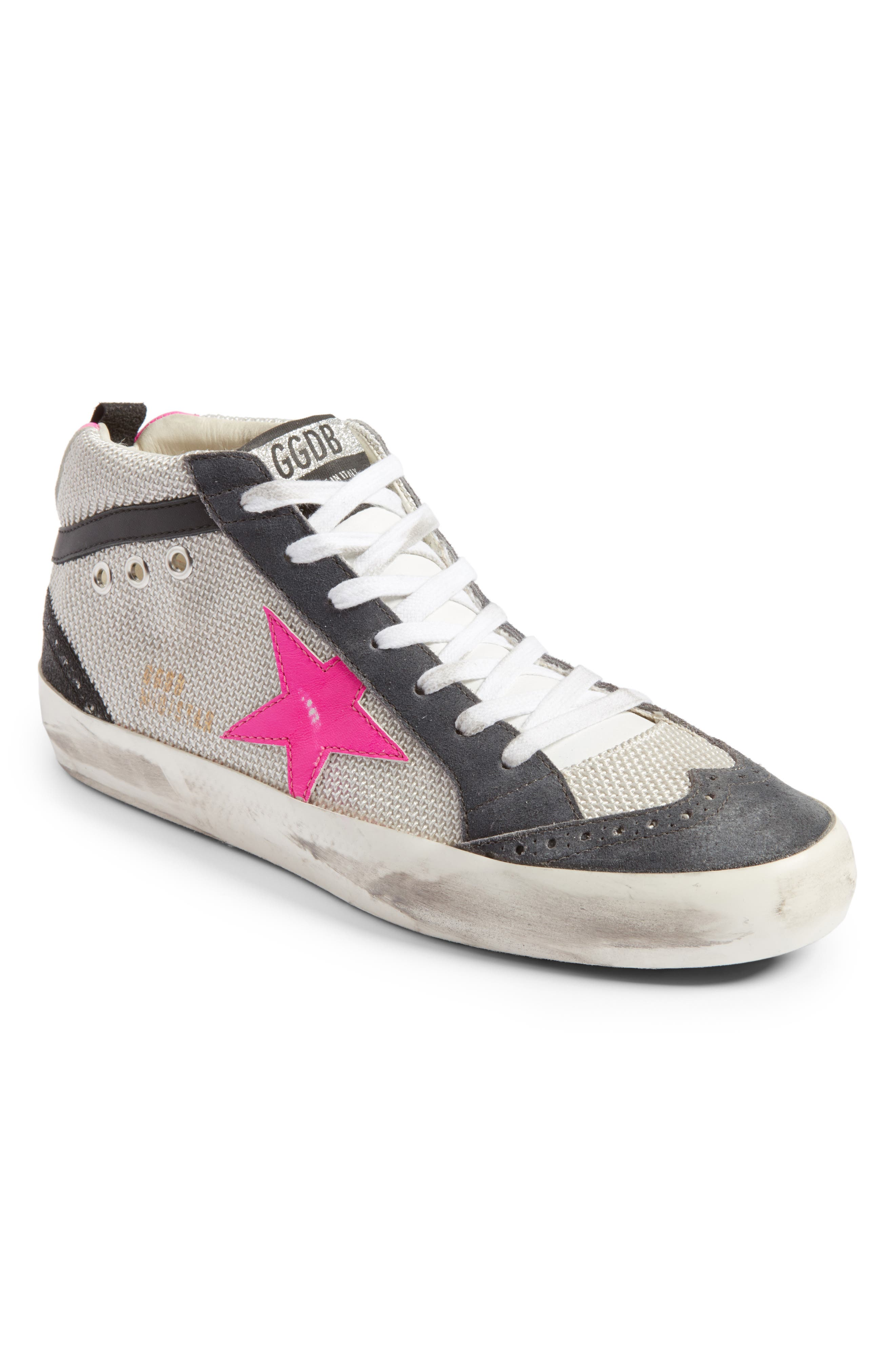 Star Mid Top Sneaker,                         Main,                         color, Grey/ Pink