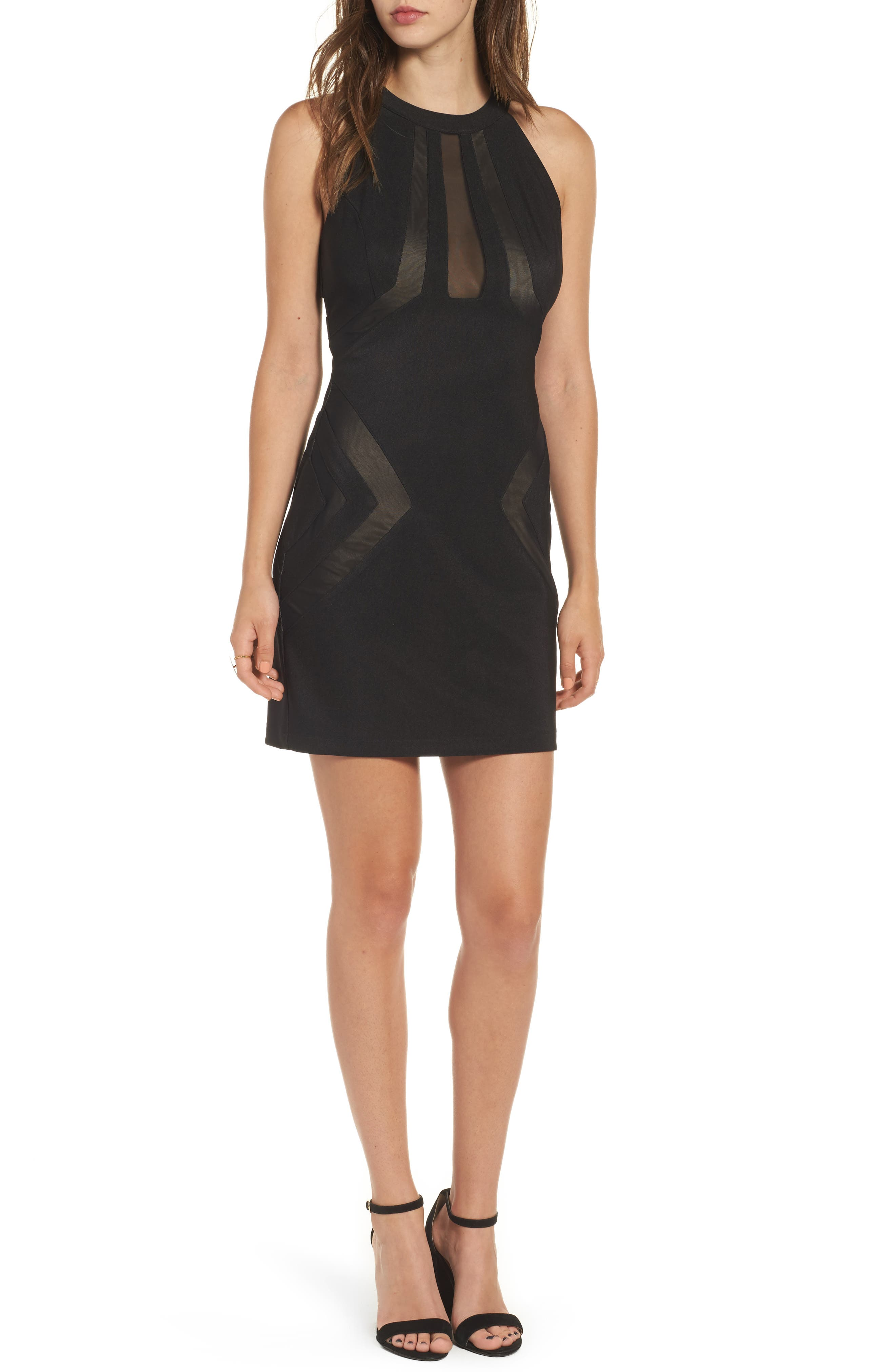 Love Nickie Lew Mesh Inset Body Con Dress,                         Main,                         color, Black