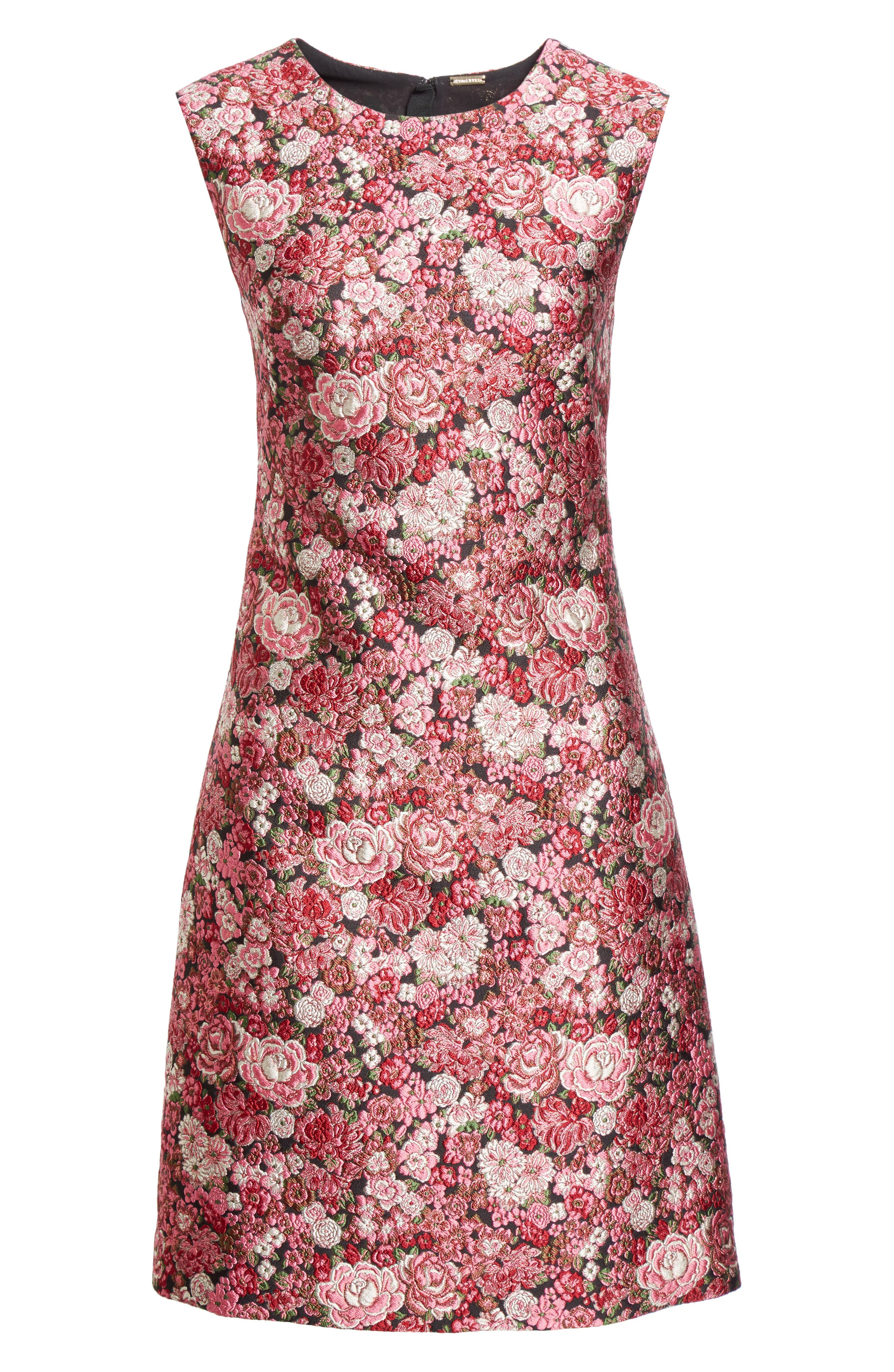Floral Brocade Dress,                             Alternate thumbnail 7, color,                             Pink Multi