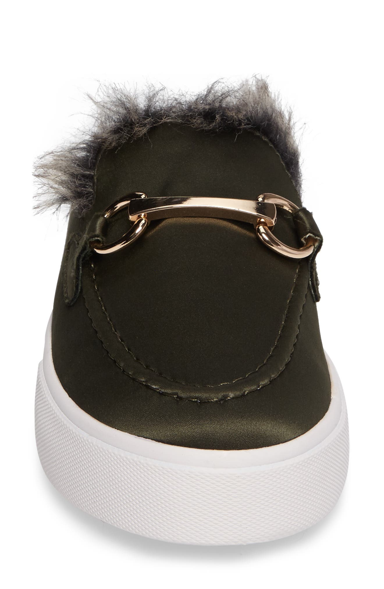 Tico Faux Fur Sneaker Mule,                             Alternate thumbnail 4, color,                             Olive Satin-Gold-Grey