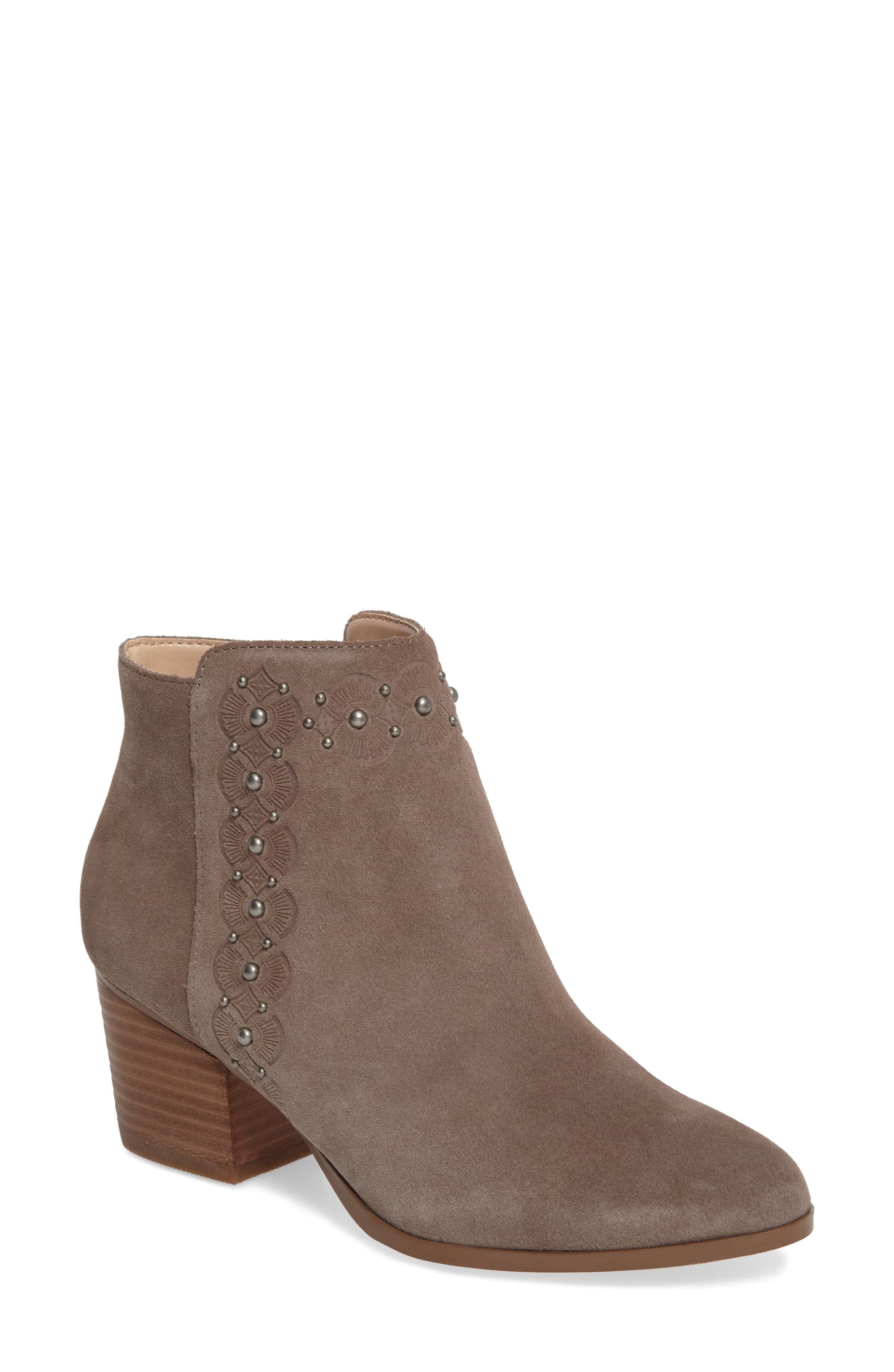Gala Studded Embossed Bootie,                             Main thumbnail 1, color,                             Mushroom Suede