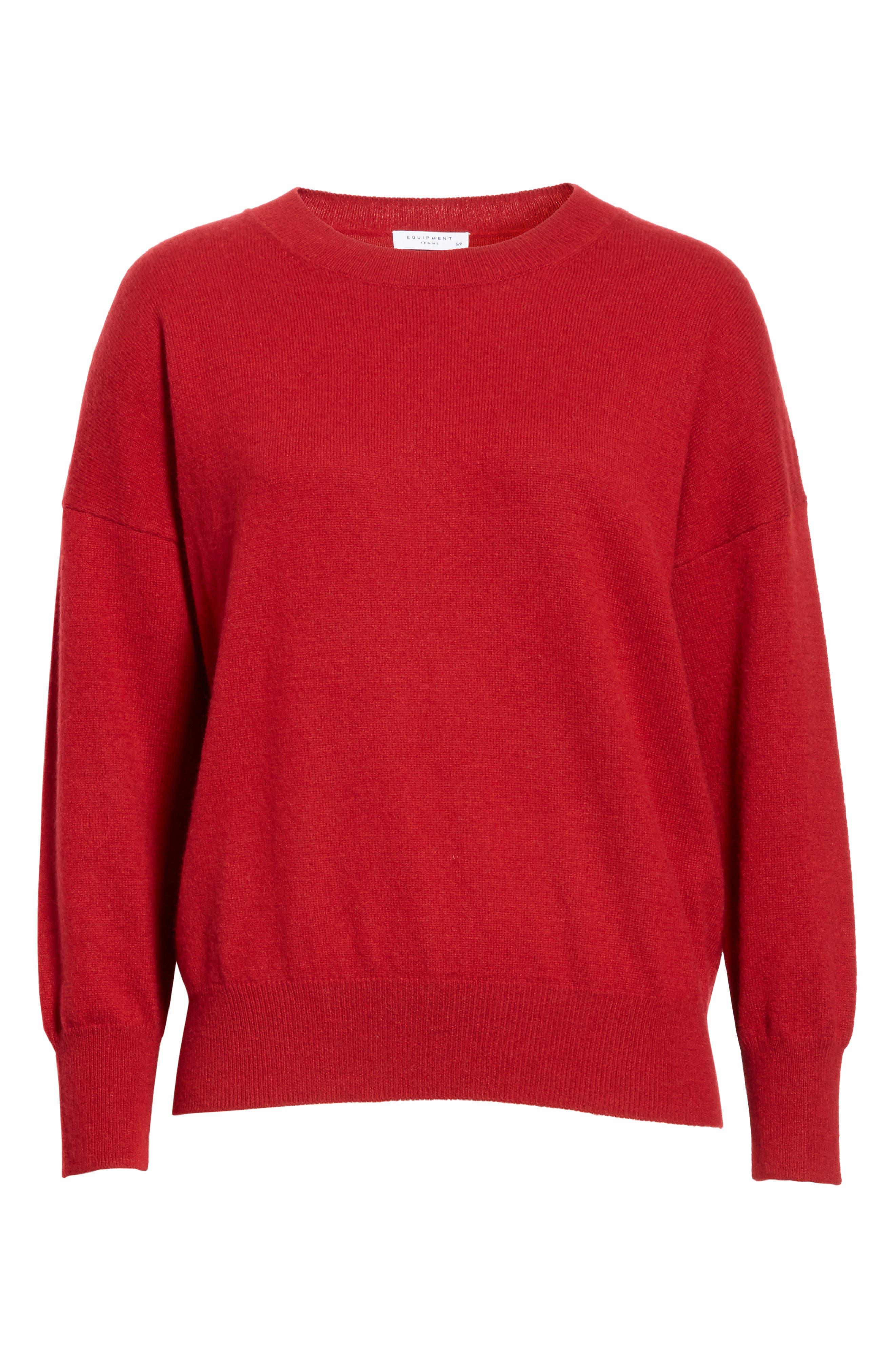 Melanie Cashmere Sweater,                             Alternate thumbnail 6, color,                             Rhubarb