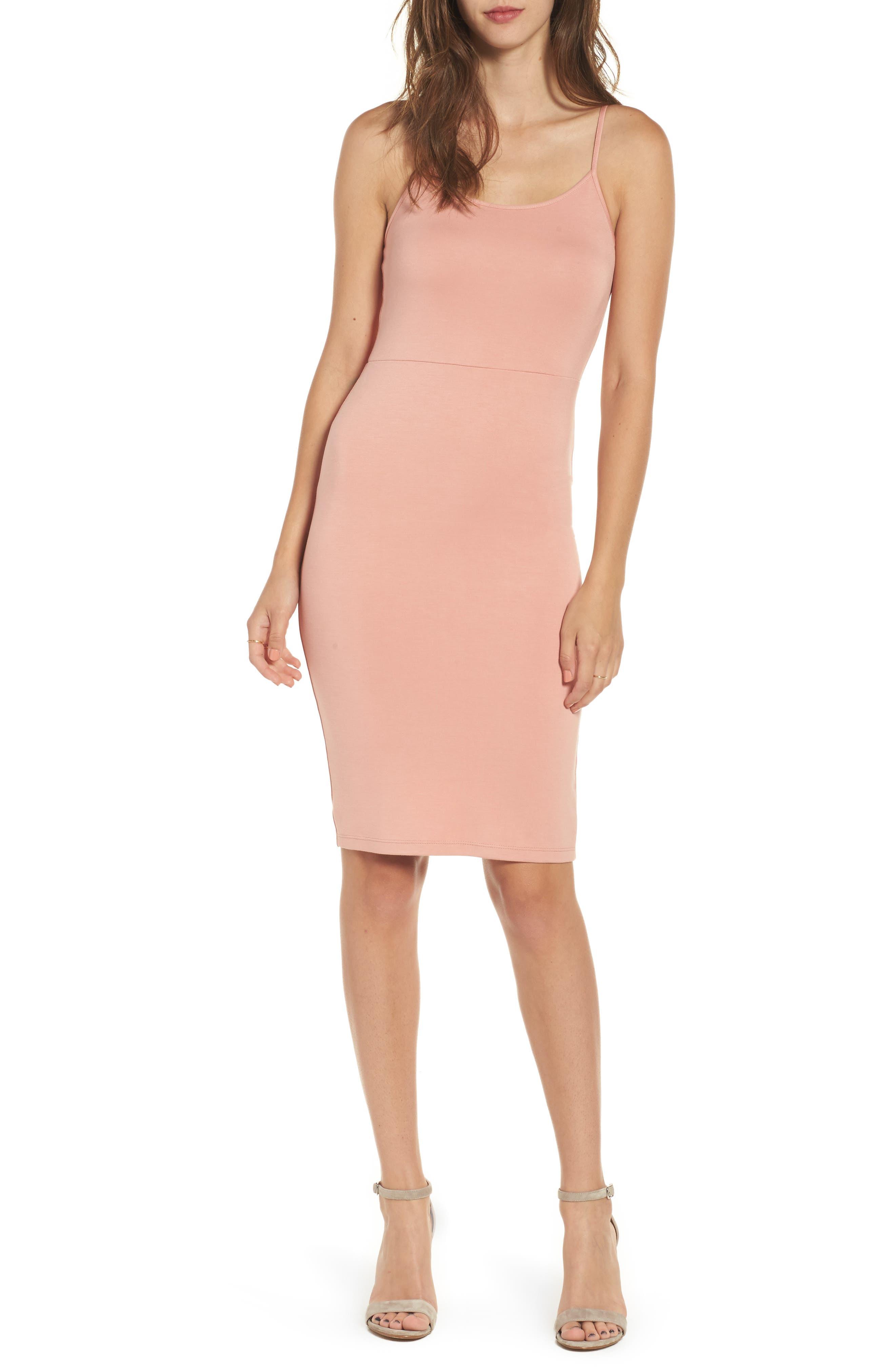 Knit Sheath Dress,                         Main,                         color, Coral