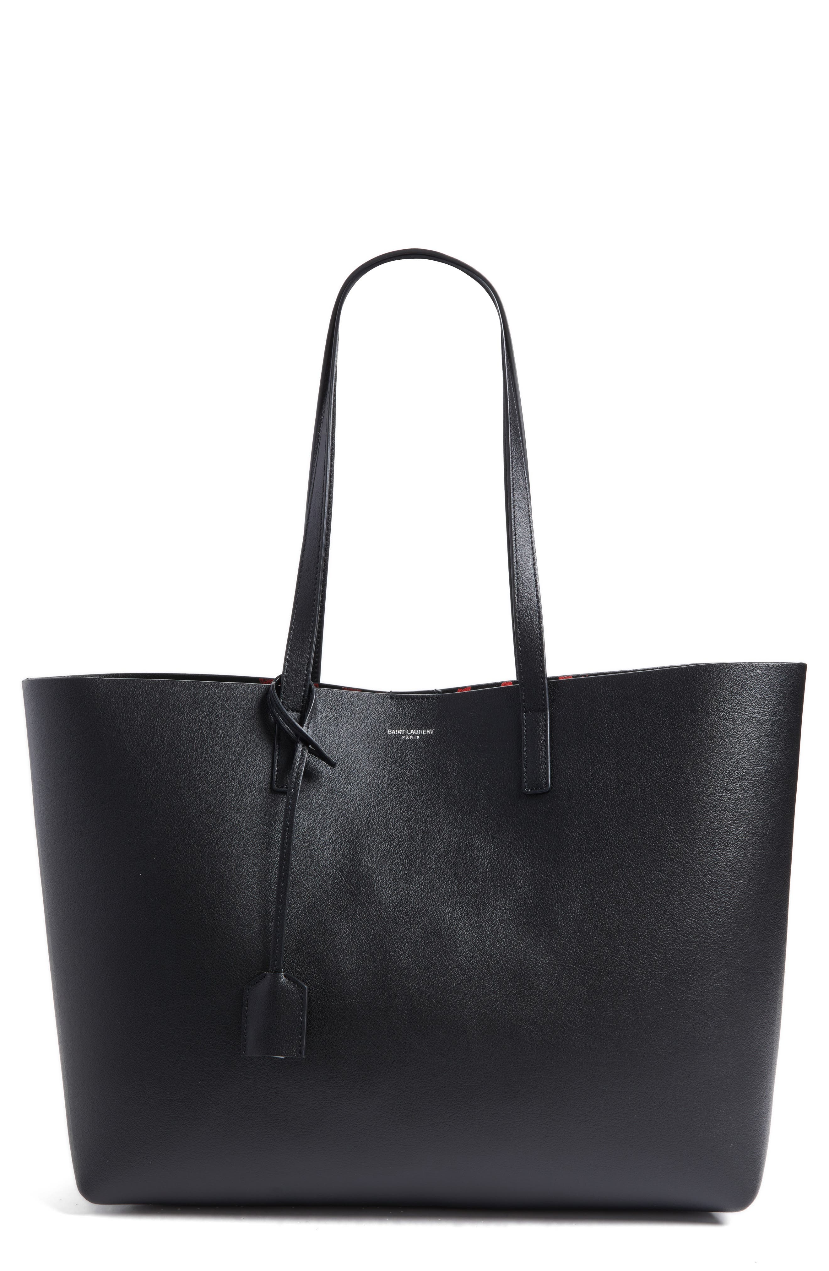 Alternate Image 1 Selected - Saint Laurent East/West Leather Tote with Leopard Spot Zip Pouch