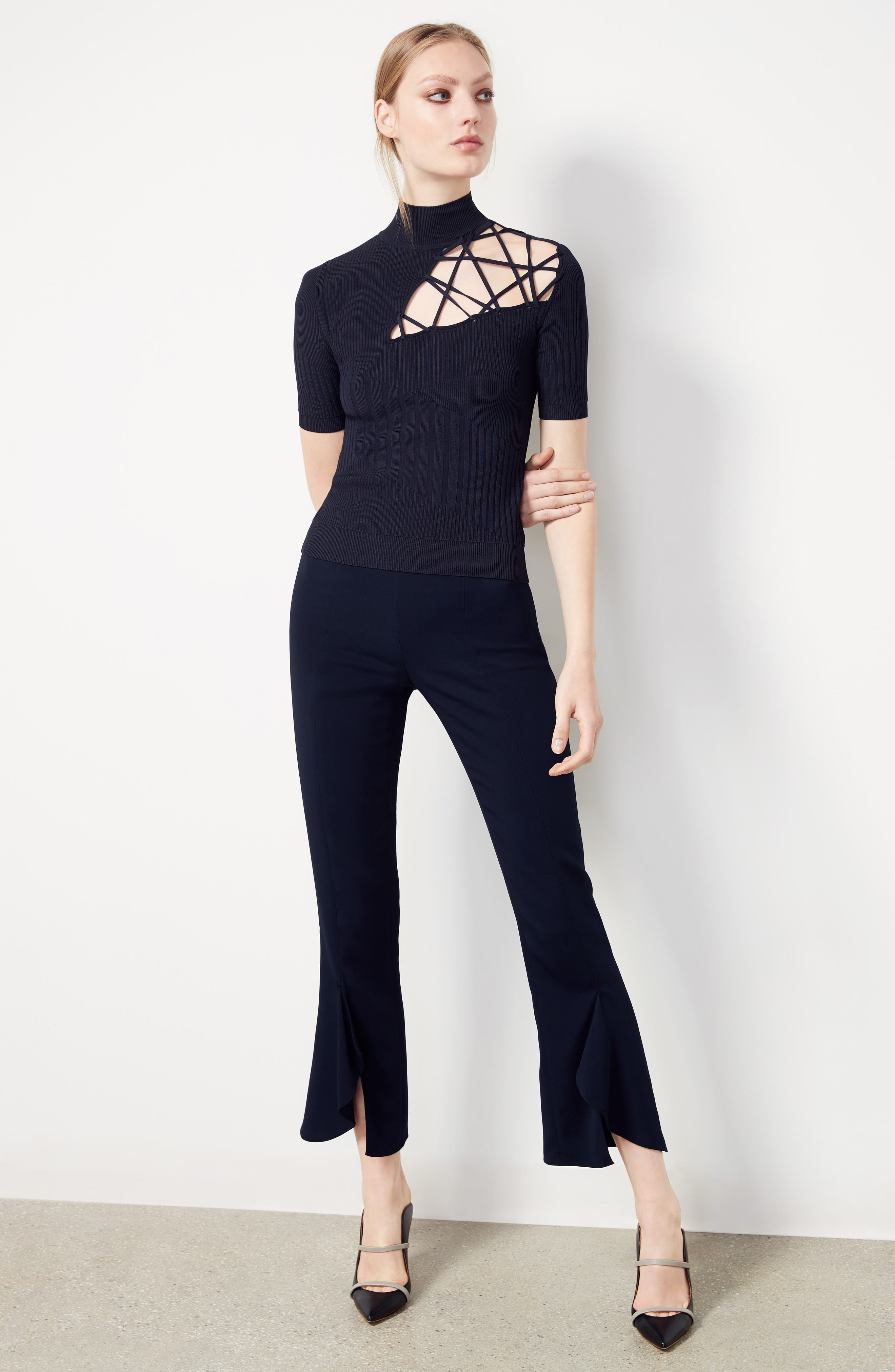 Slit Hem Crop Pants,                             Alternate thumbnail 2, color,                             Midnight