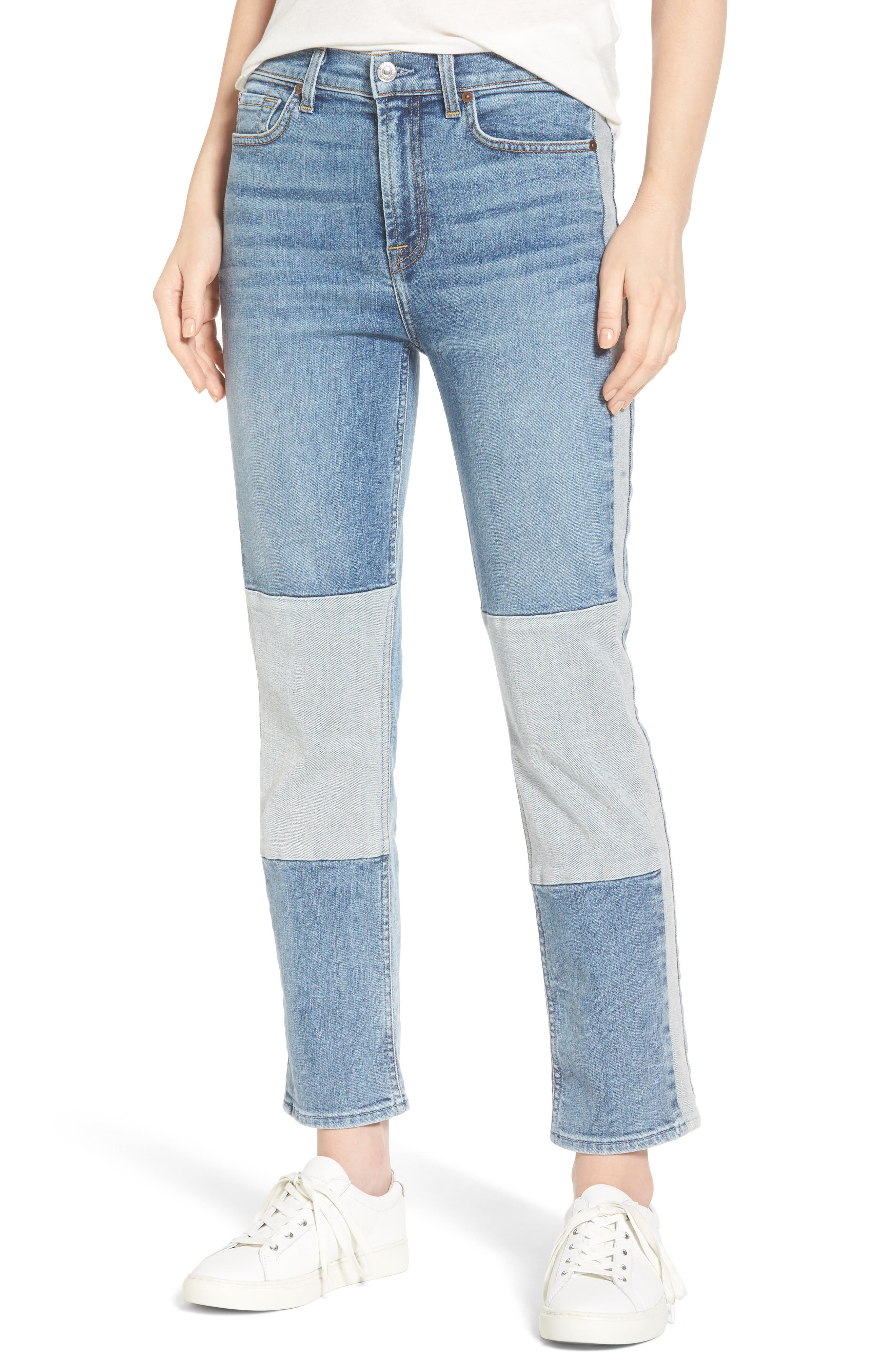 Edie High Waist Crop Jeans,                             Main thumbnail 1, color,                             Gold Coast Waves