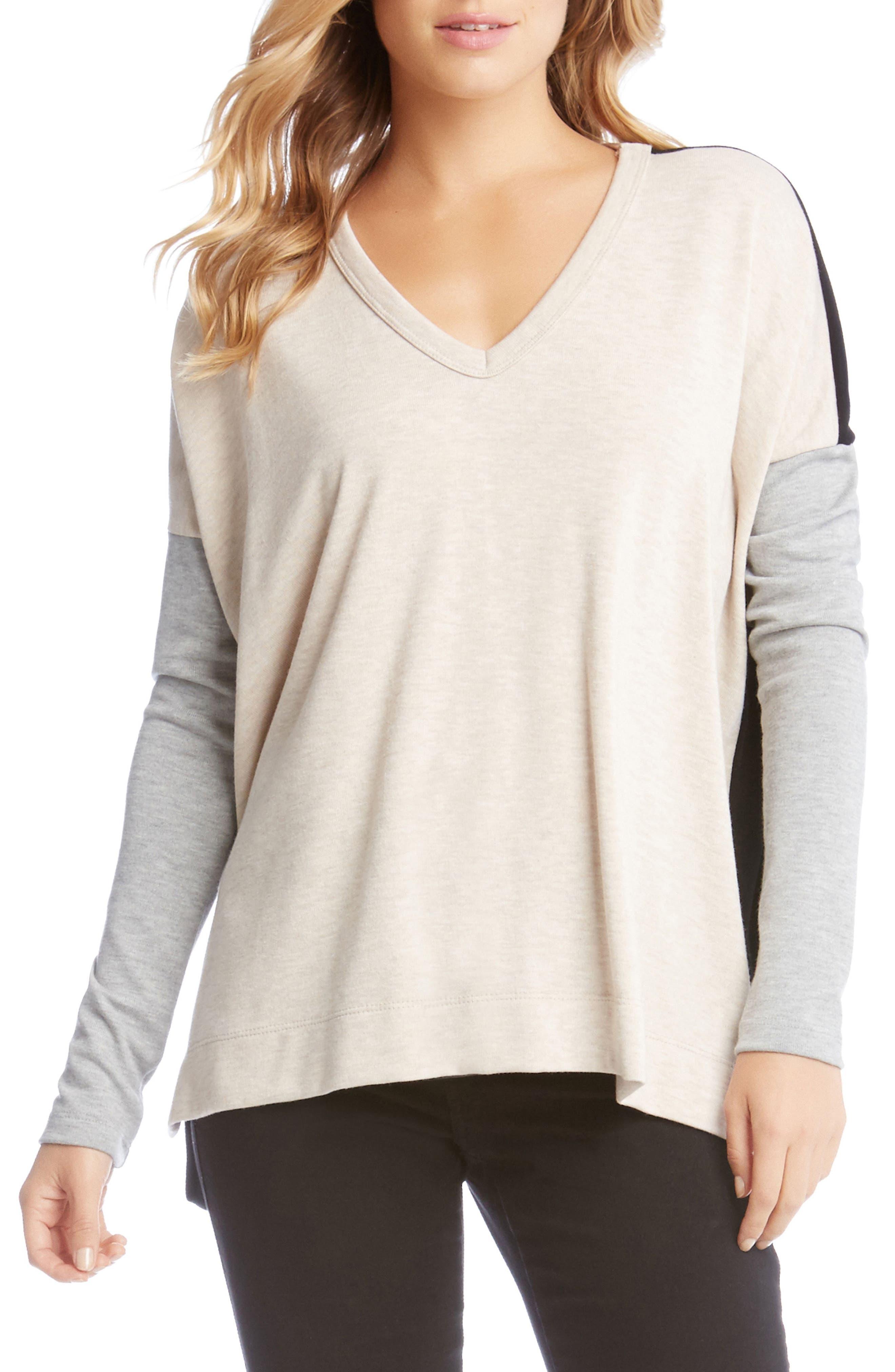 Colorblock Sweater,                             Main thumbnail 1, color,                             Oatmeal
