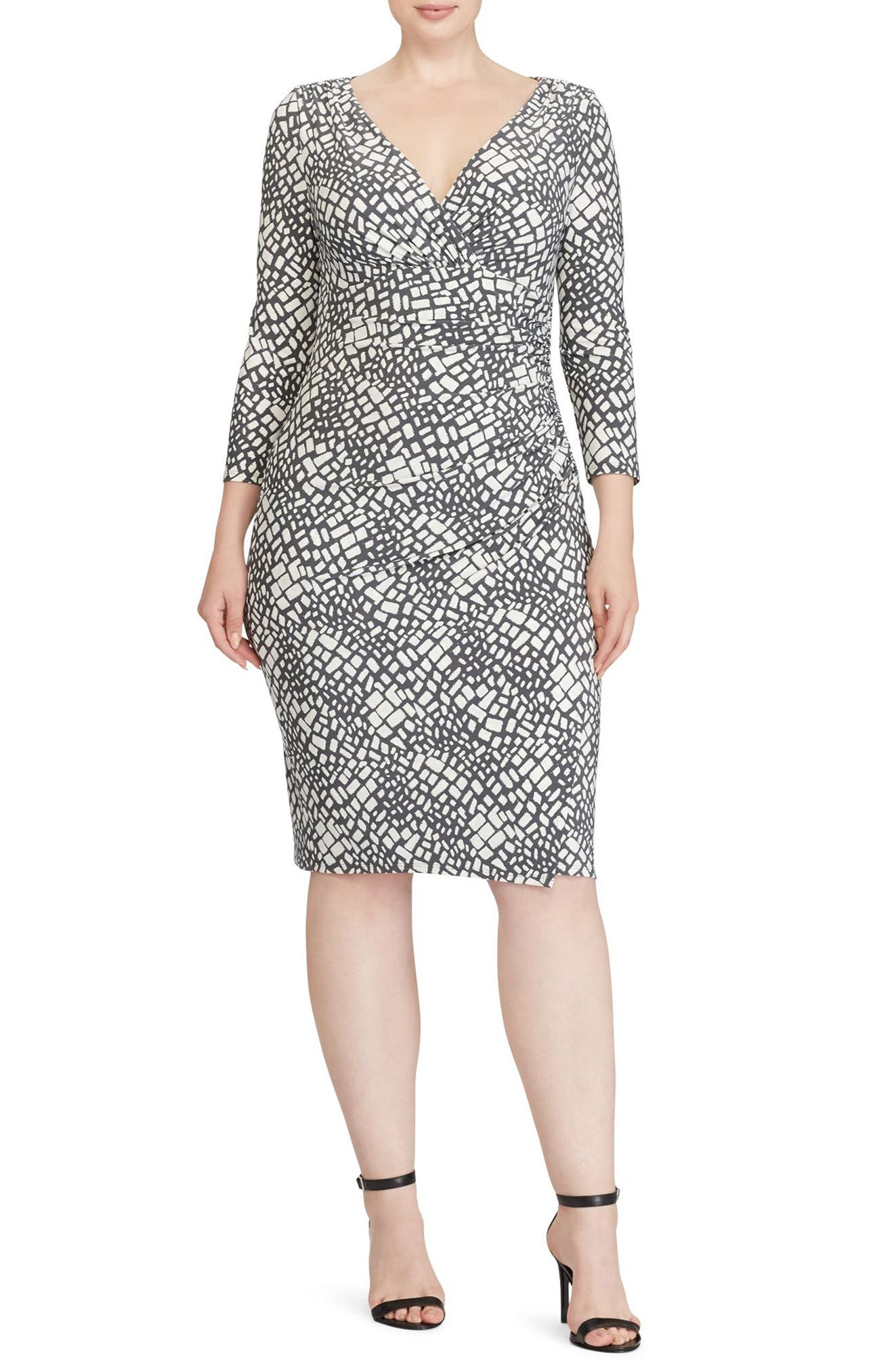 Shirred Print Jersey Sheath Dress,                         Main,                         color, Slate/ Colonial Cream