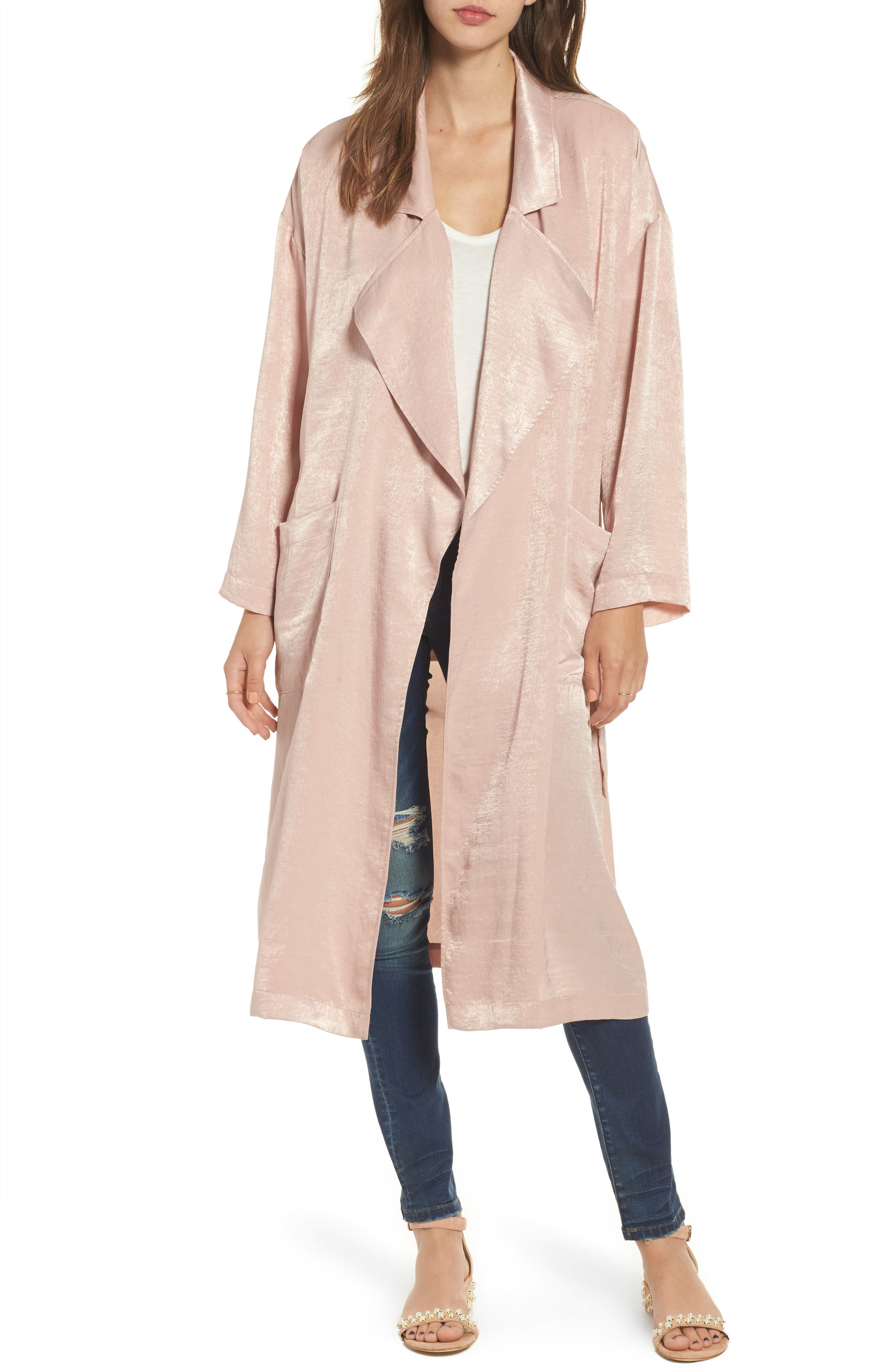 Satin Trench Coat,                             Main thumbnail 1, color,                             Pink Adobe