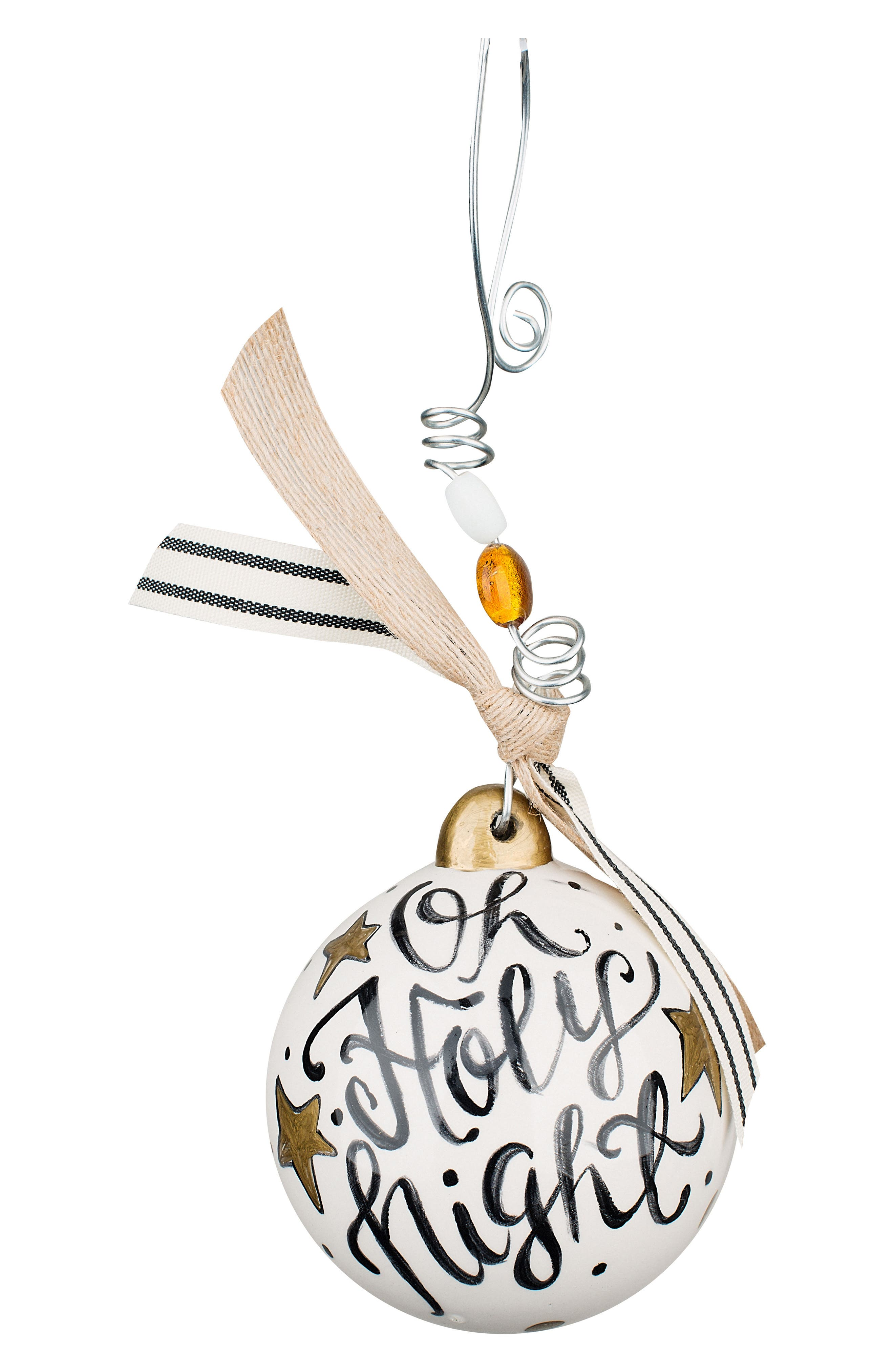 Oh Holy Night Ball Ornament,                             Alternate thumbnail 2, color,                             Cream/ Black/ Gold