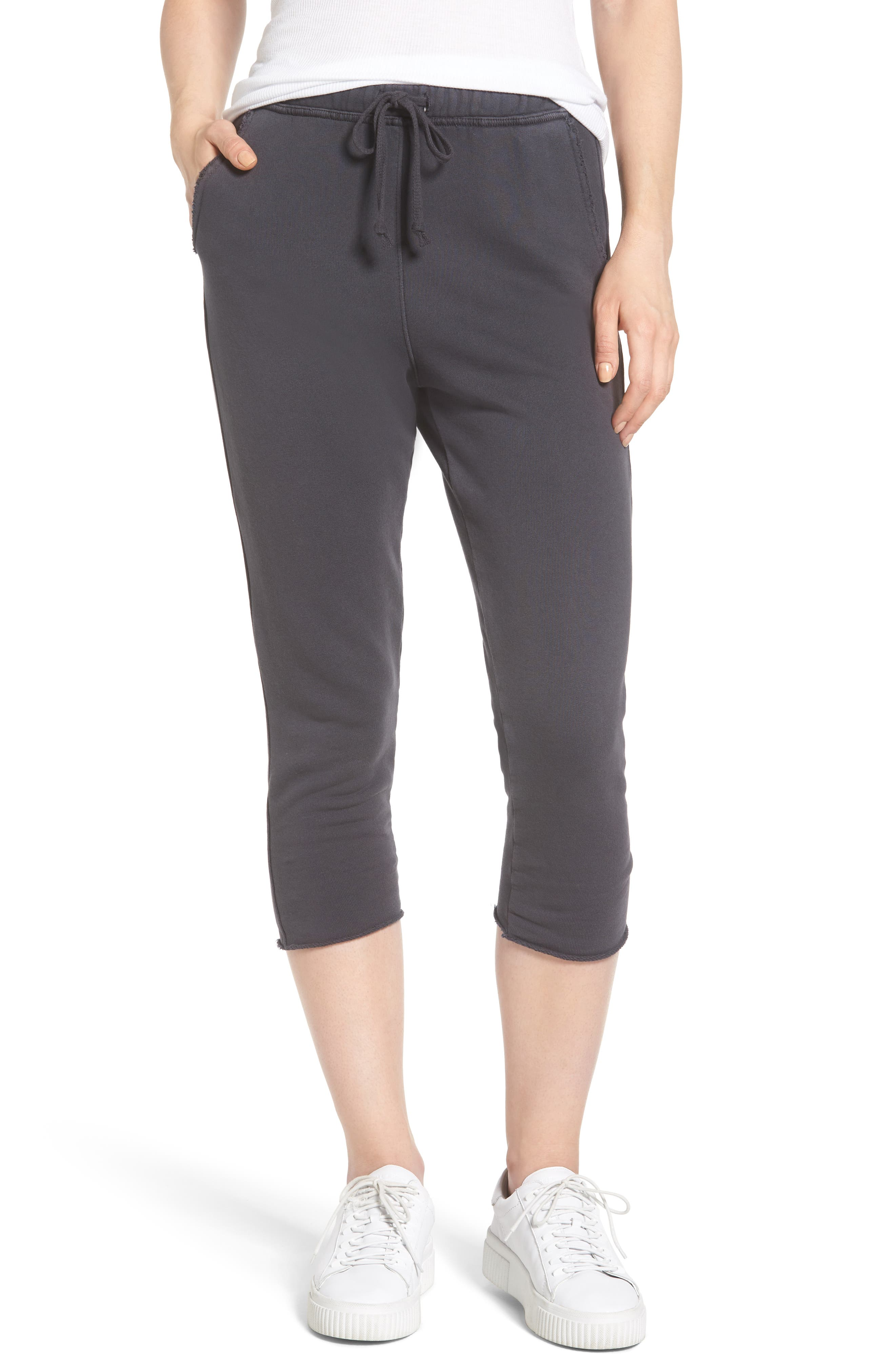 Raw Hem Crop Sweatpants,                         Main,                         color, Carbon