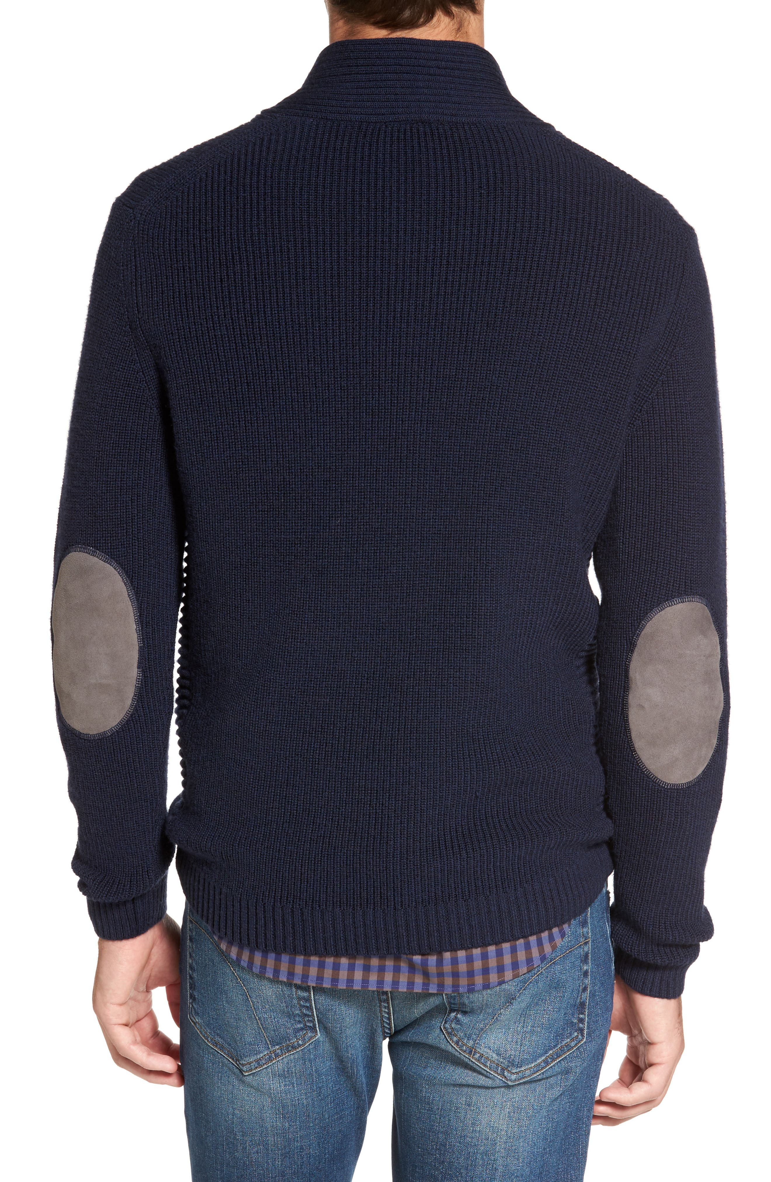 Charlesworth Suede Patch Merino Wool Sweater,                             Alternate thumbnail 2, color,                             Marine