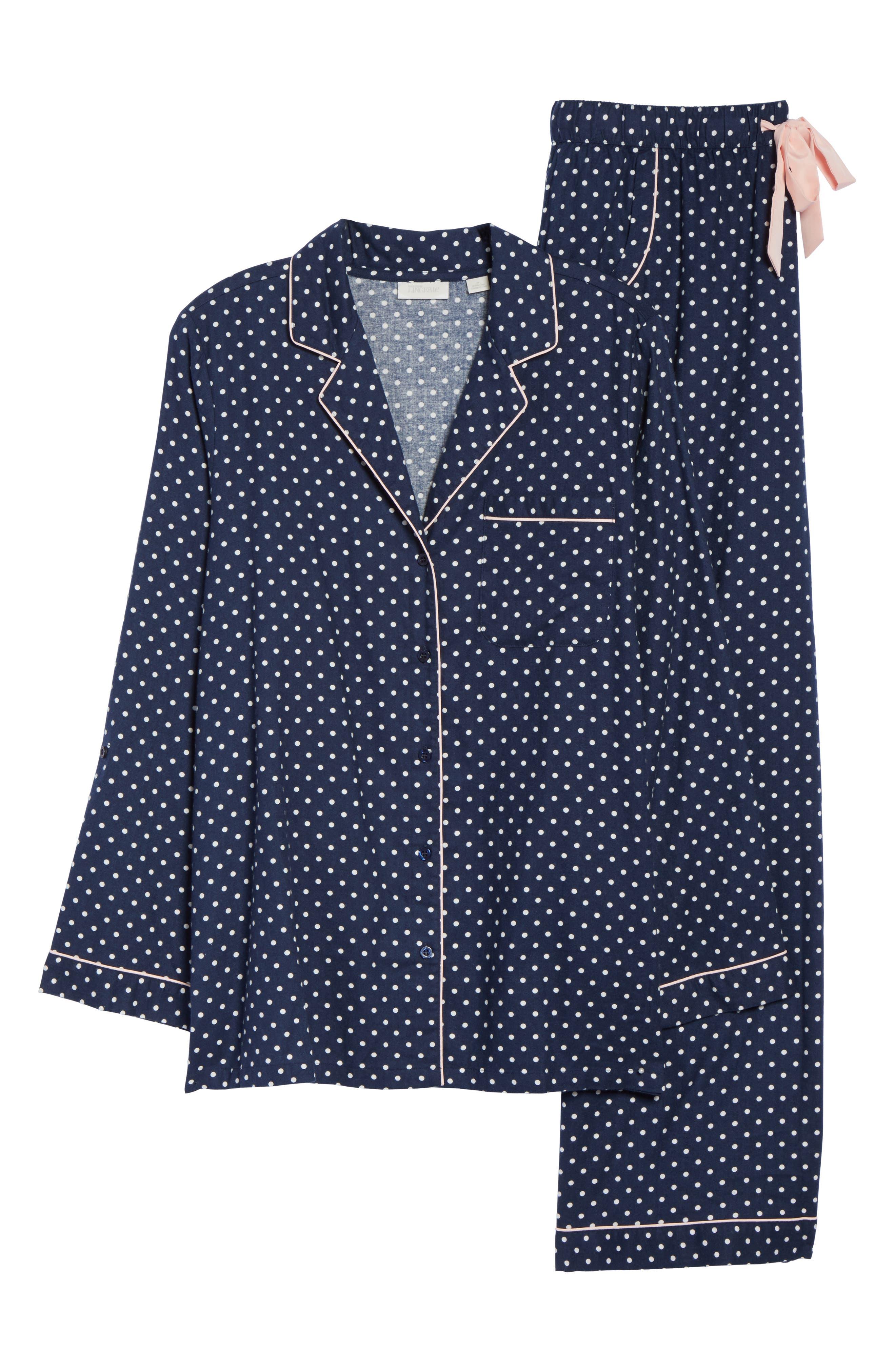 Cotton Twill Pajamas,                             Alternate thumbnail 4, color,                             Navy Peacoat Flirty Polka