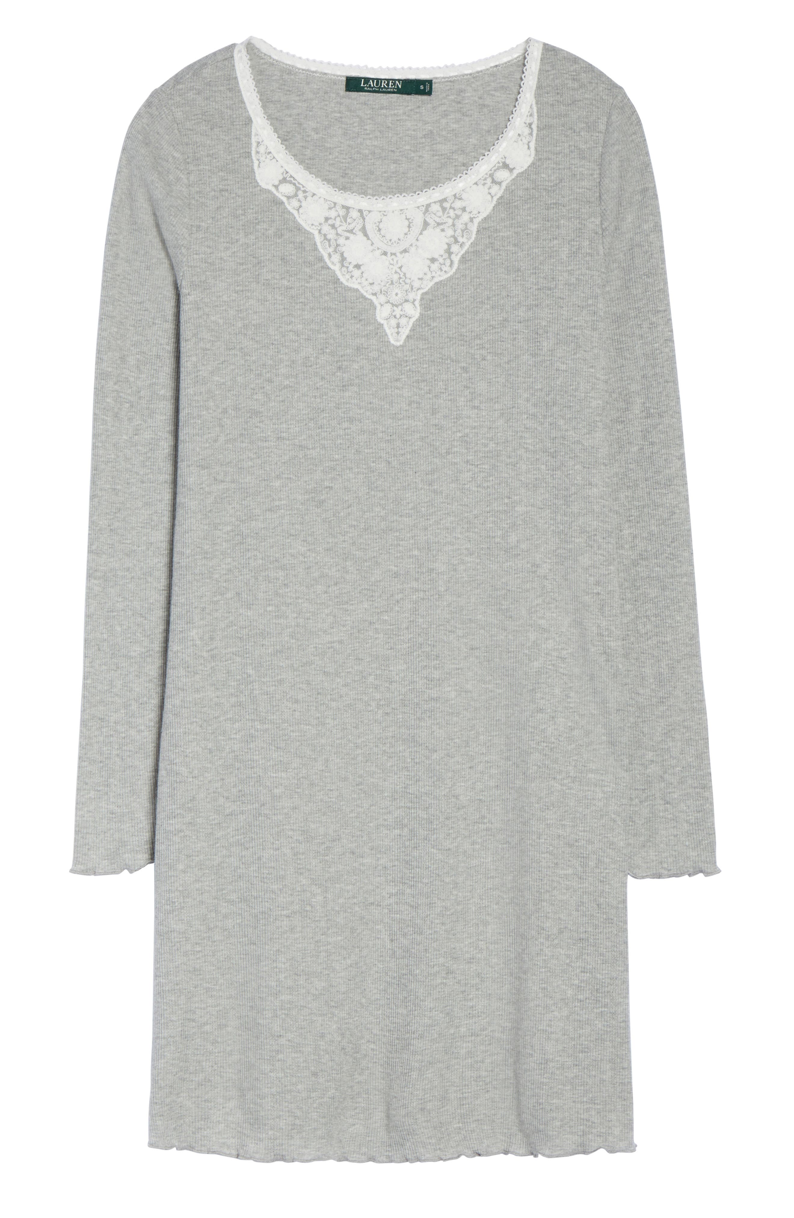 Lace Neck Sleep Shirt,                             Alternate thumbnail 4, color,                             Grey Heather