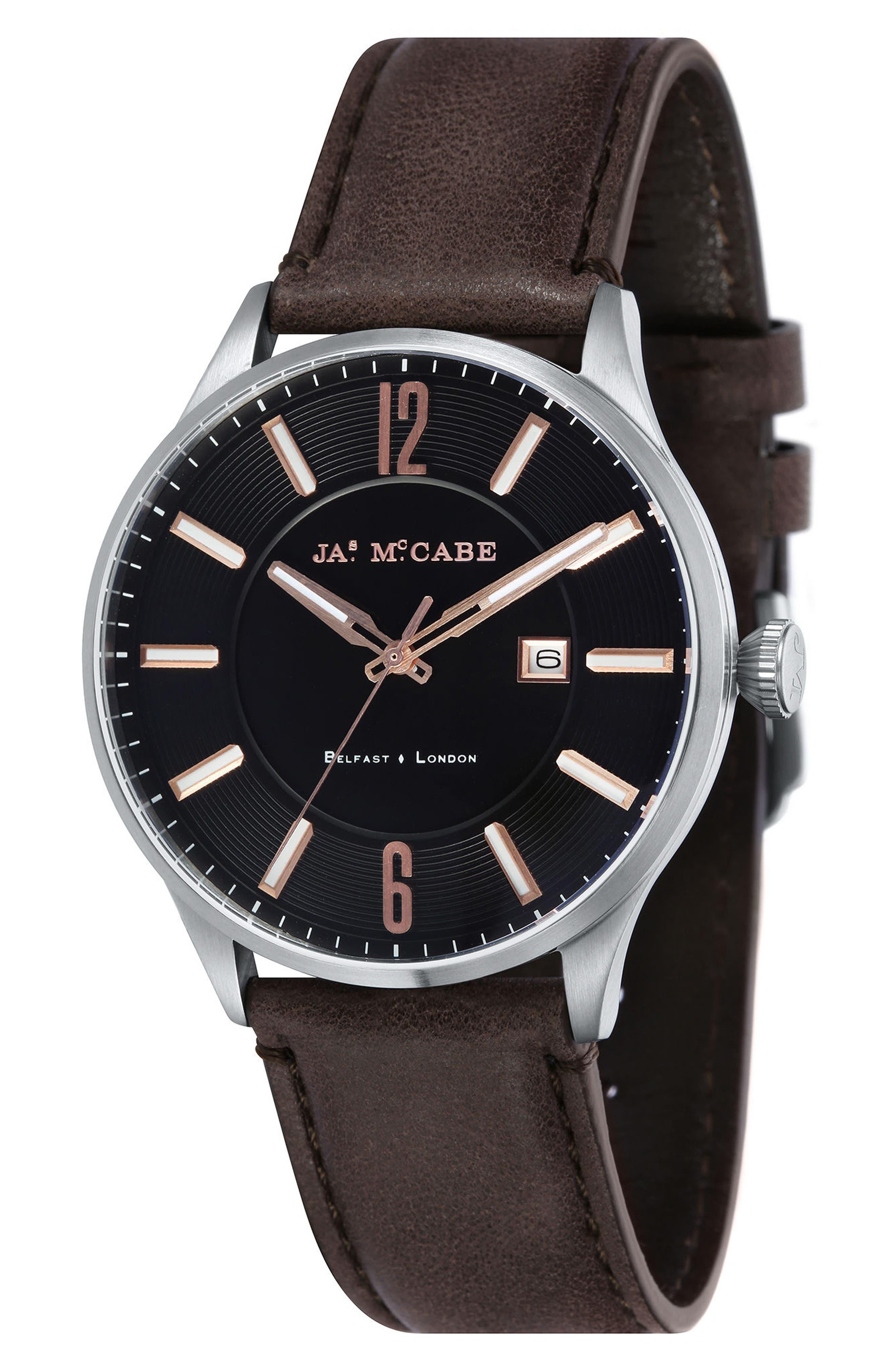 James McCabe New Belfast Slim Leather Strap Watch, 40mm