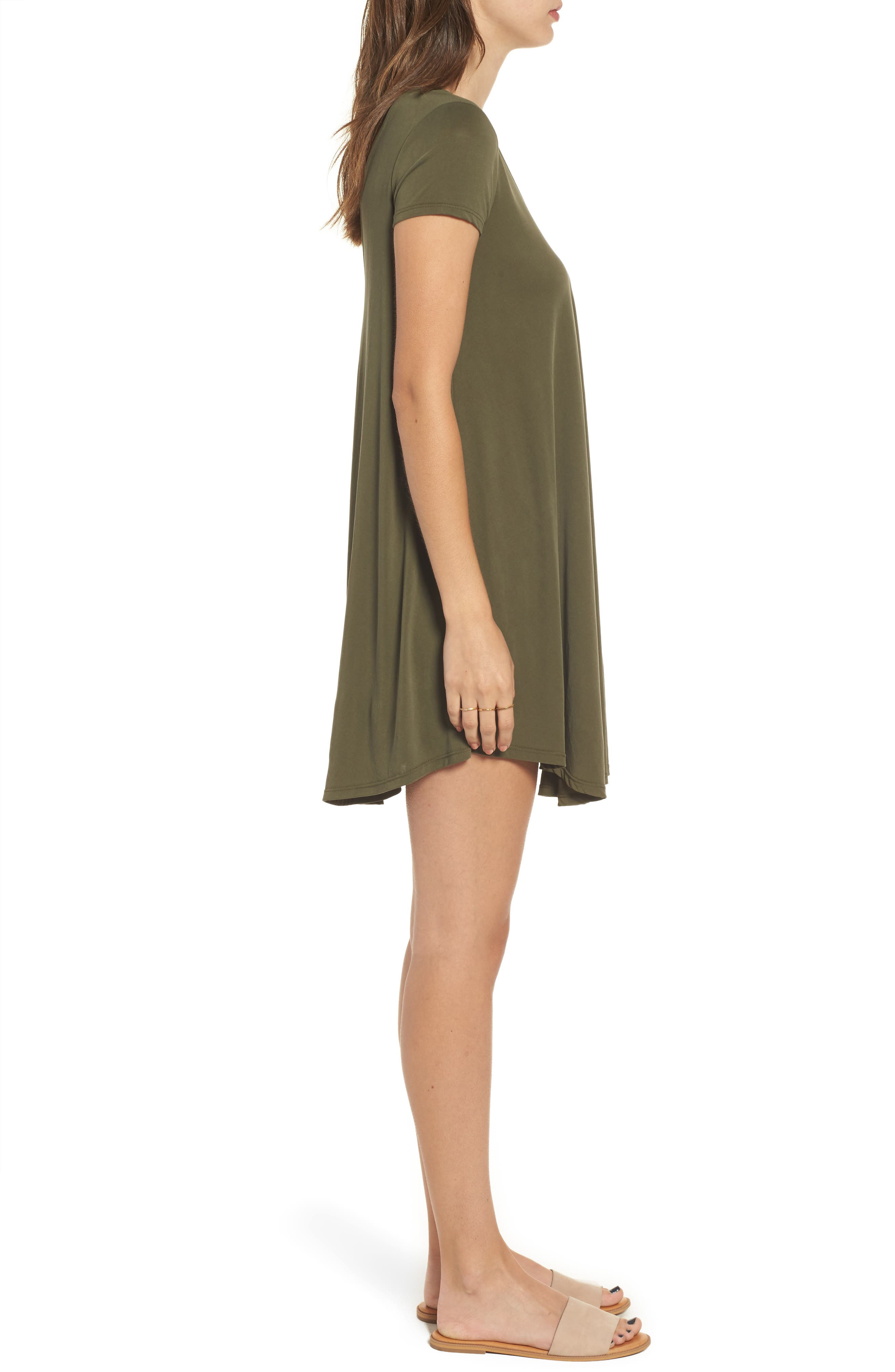 T-Back Swing Dress,                             Alternate thumbnail 3, color,                             Olive