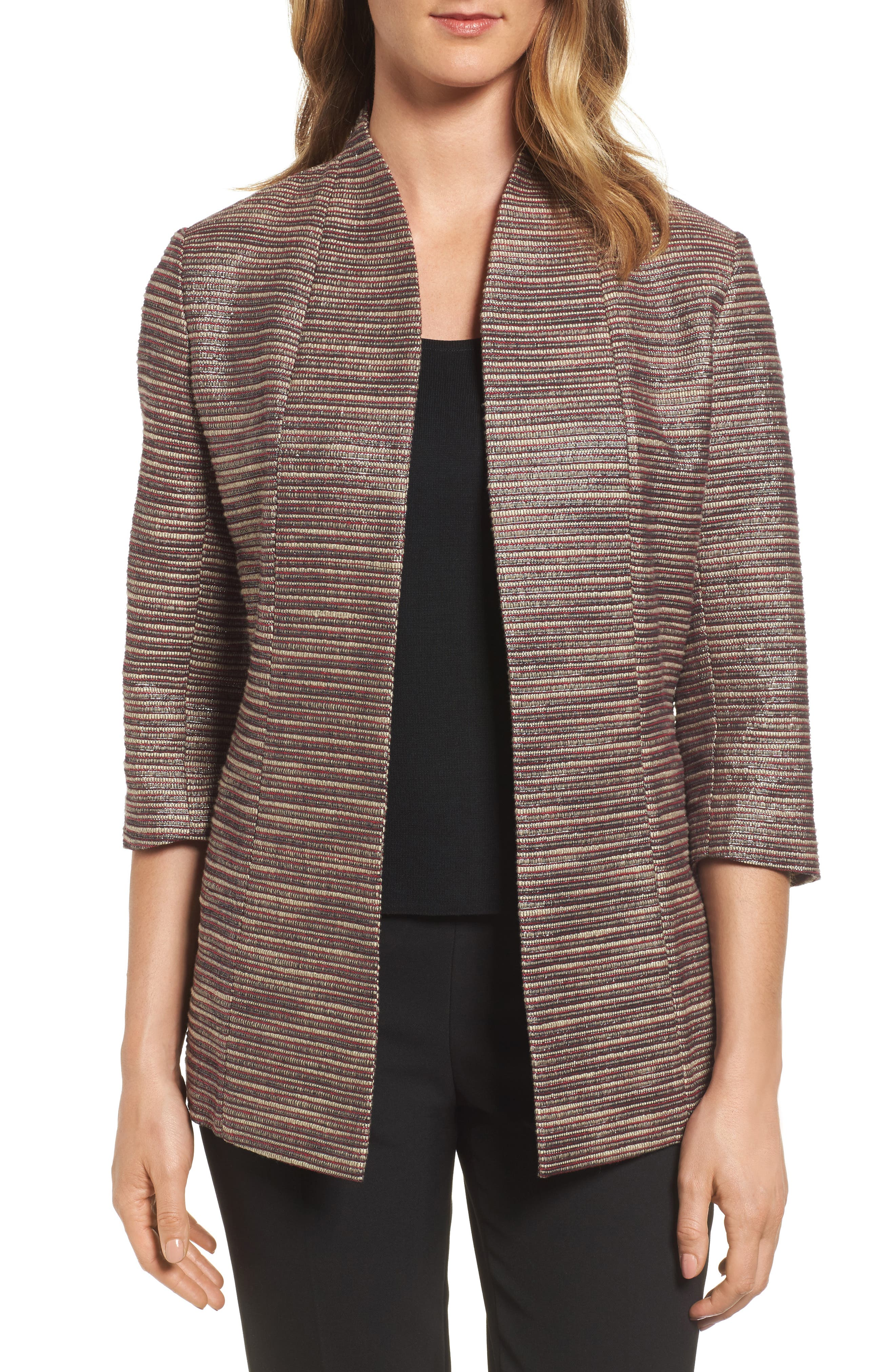 Ribbed Metallic Tweed Jacket,                         Main,                         color, Charged Pink/ Black/ Ivory