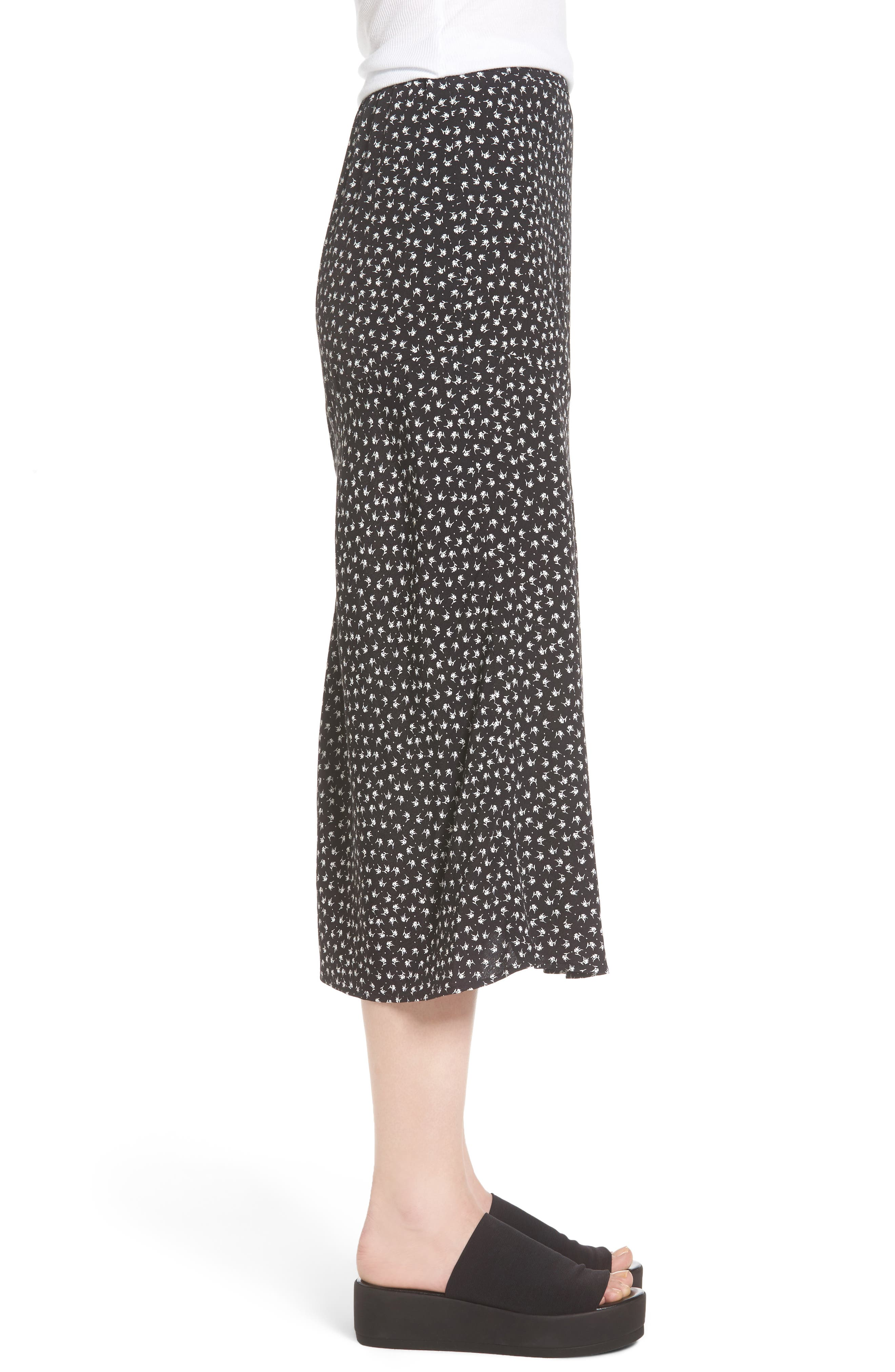 Print Bias Cut Skirt,                             Alternate thumbnail 3, color,                             Black Tsd Stem