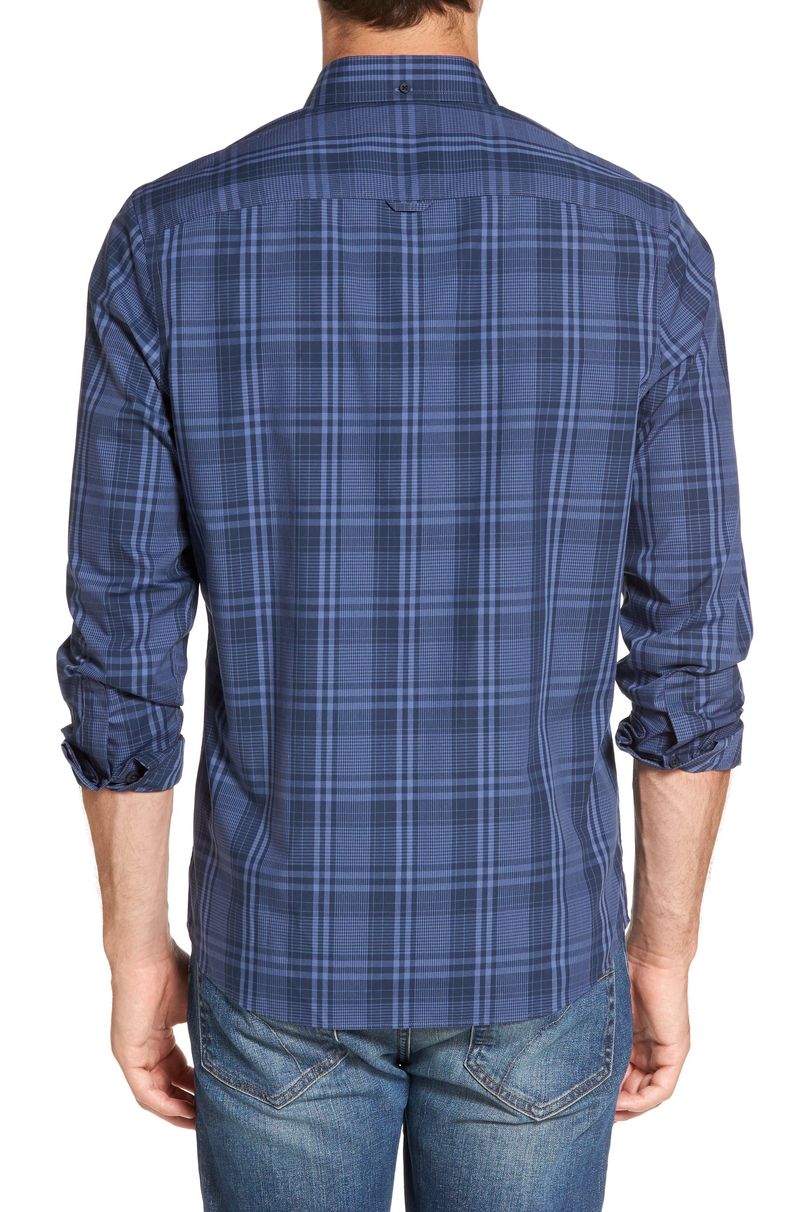 Slim Fit Plaid Sport Shirt,                             Alternate thumbnail 2, color,                             Navy Iris Blue Plaid