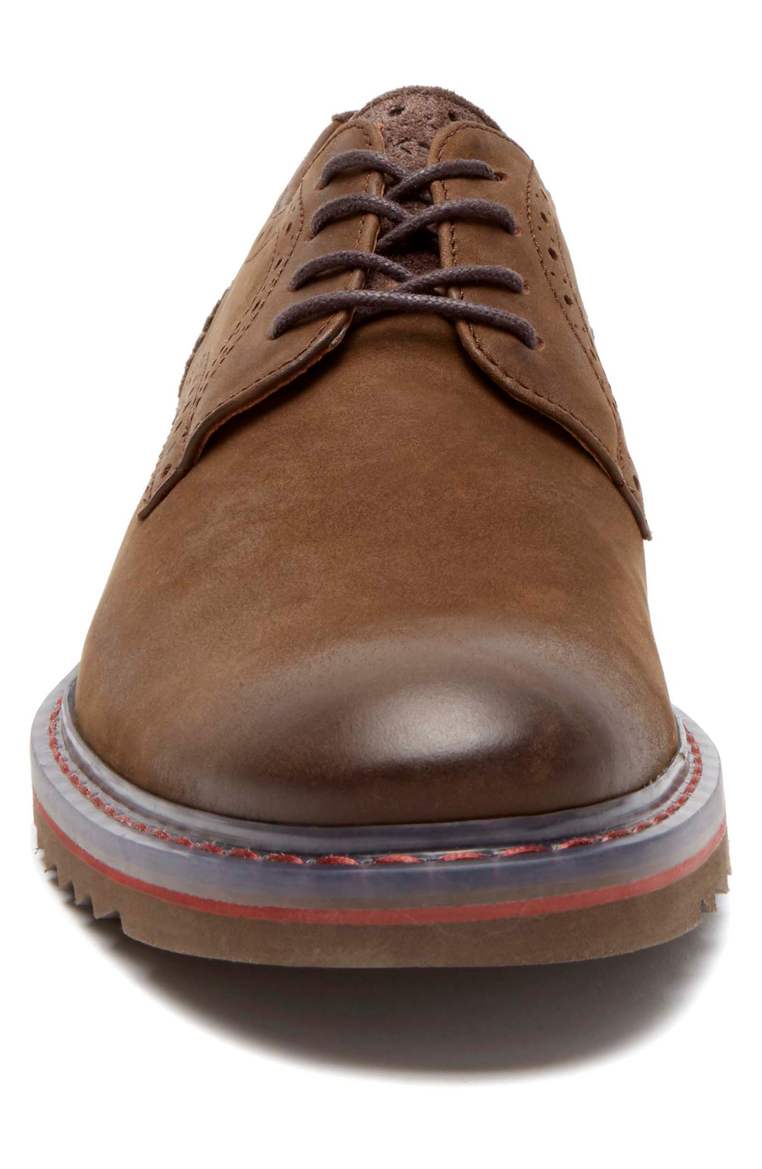 Jaxson Plain Toe Derby,                             Alternate thumbnail 4, color,                             Brown Leather