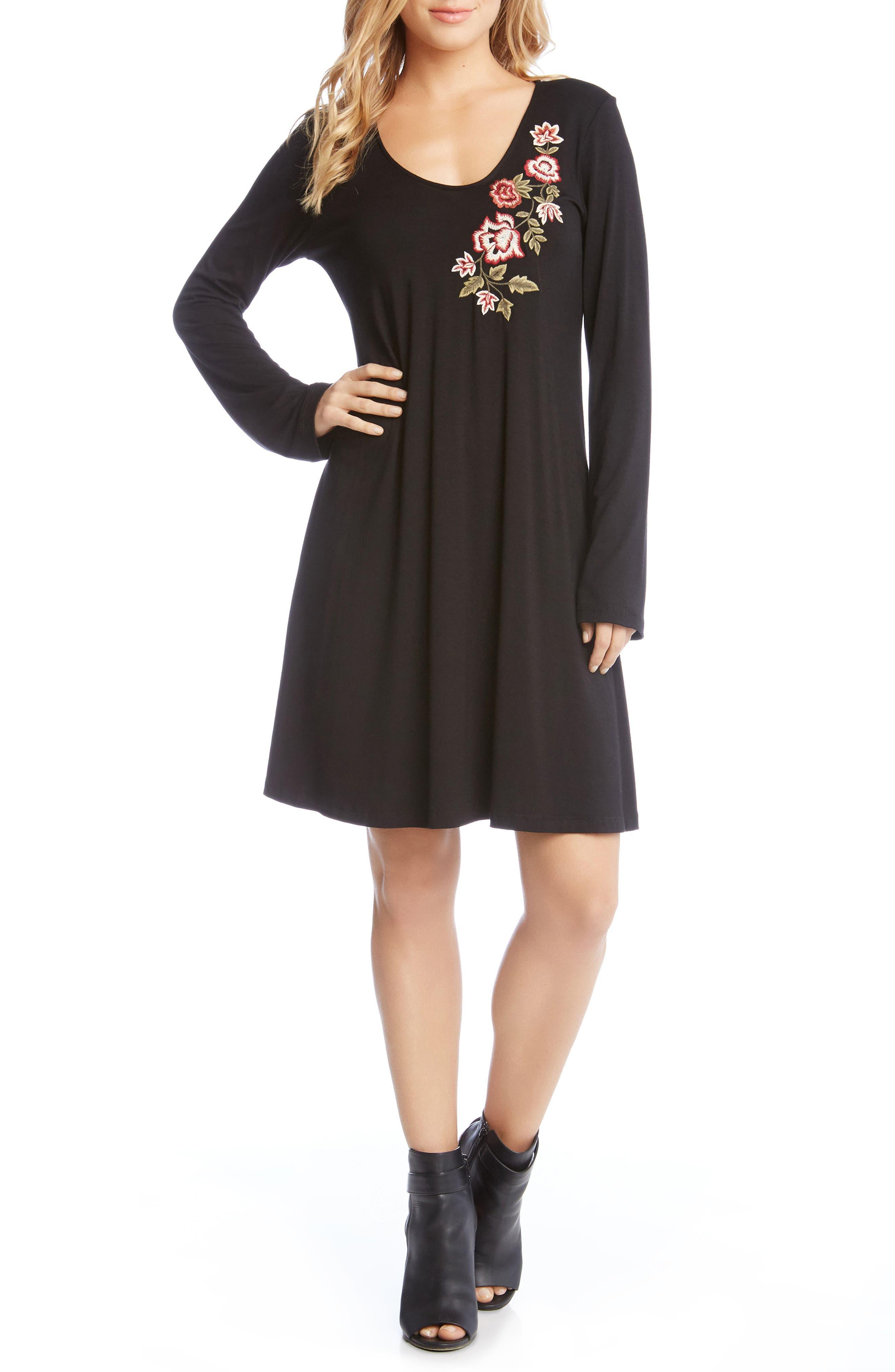 Embroidered Long Sleeve Dress,                             Main thumbnail 1, color,                             Black