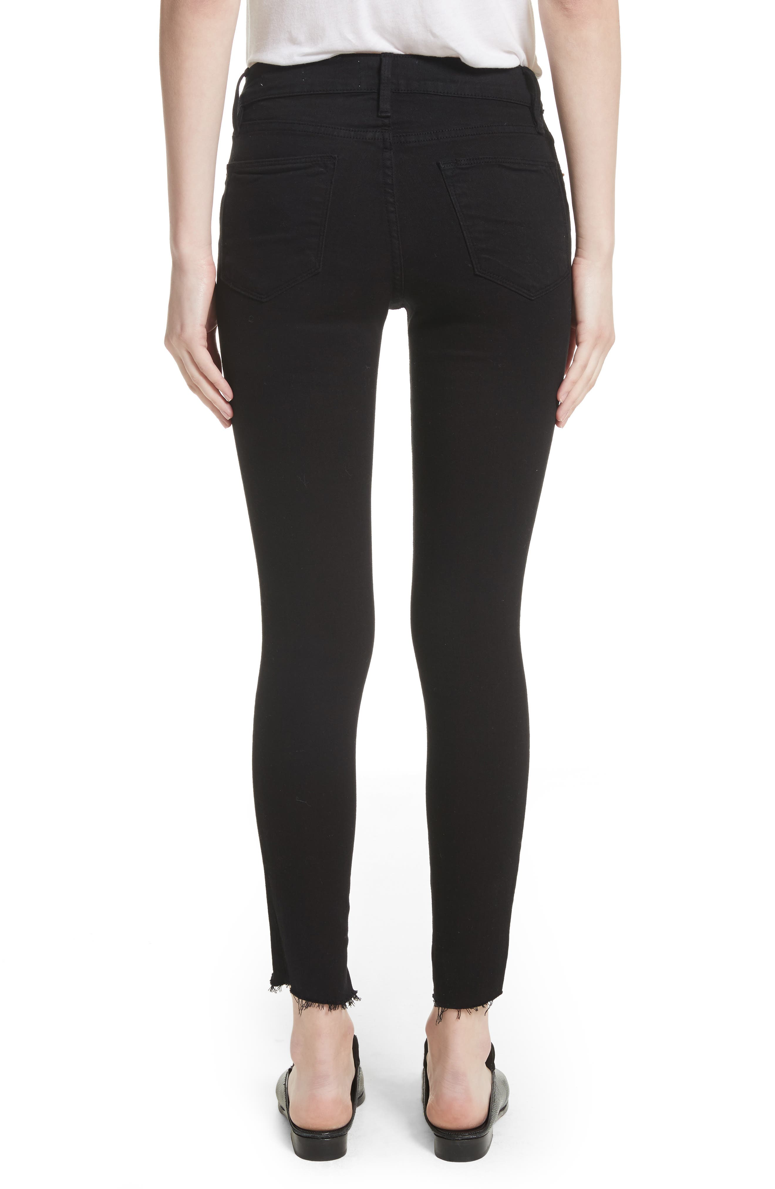 Alternate Image 3  - FRAME Le High Skinny Step Hem Jeans (Film Noir) (Nordstrom Exclusive)