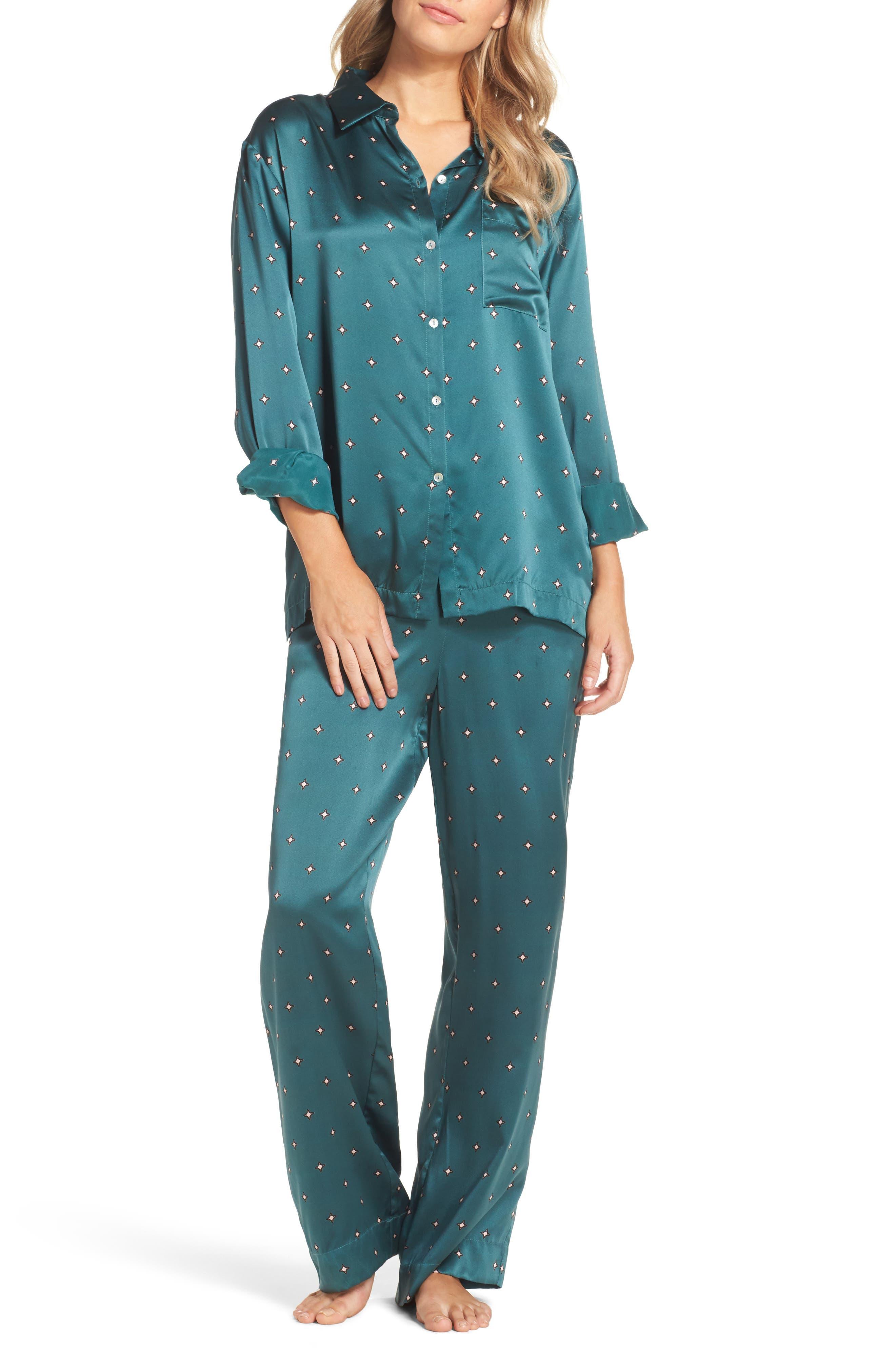 Print Silk Pajama Top,                             Alternate thumbnail 5, color,                             Jade Star