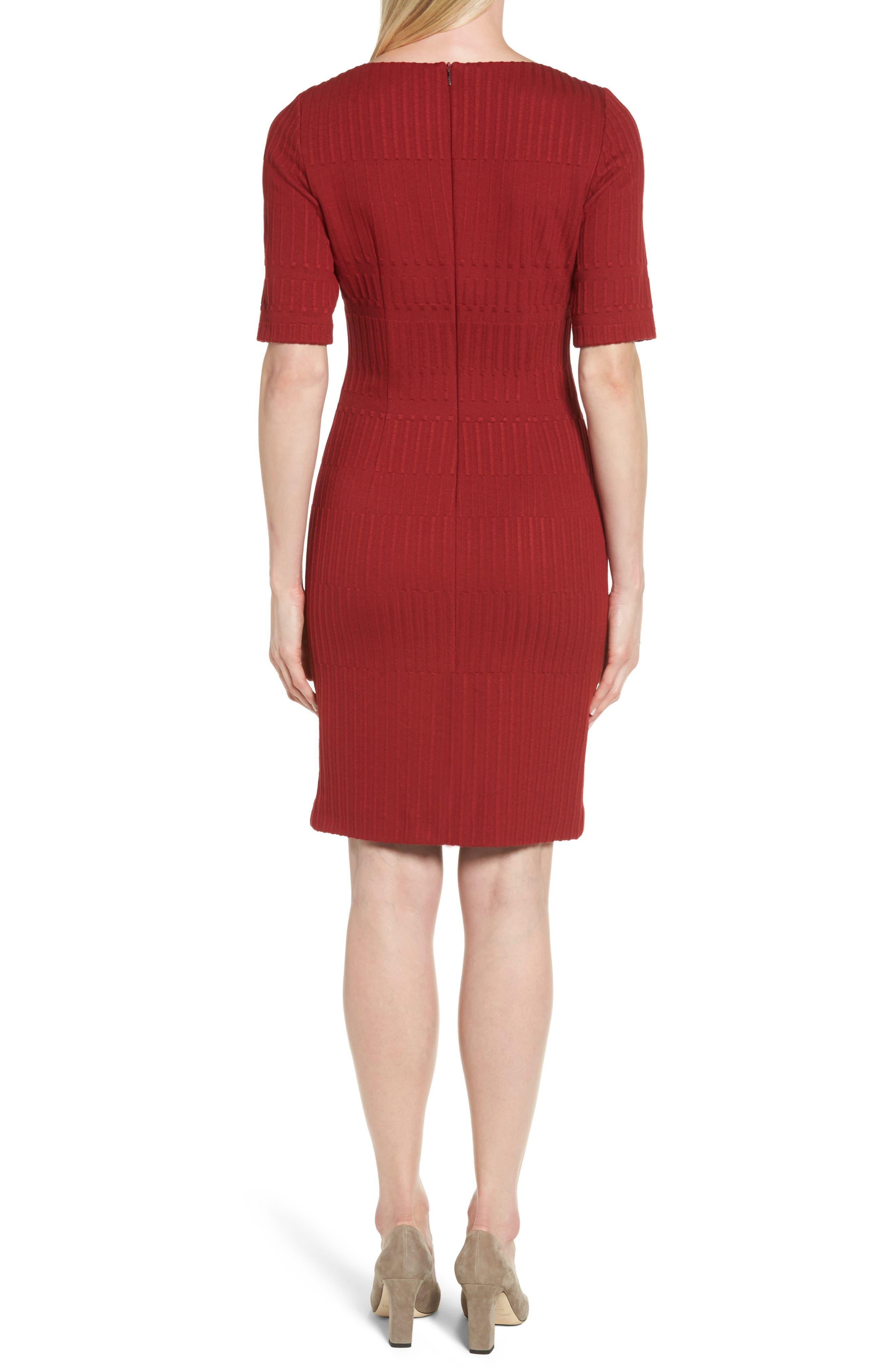 Hadea Knit Sheath Dress,                             Alternate thumbnail 2, color,                             Pomegranate