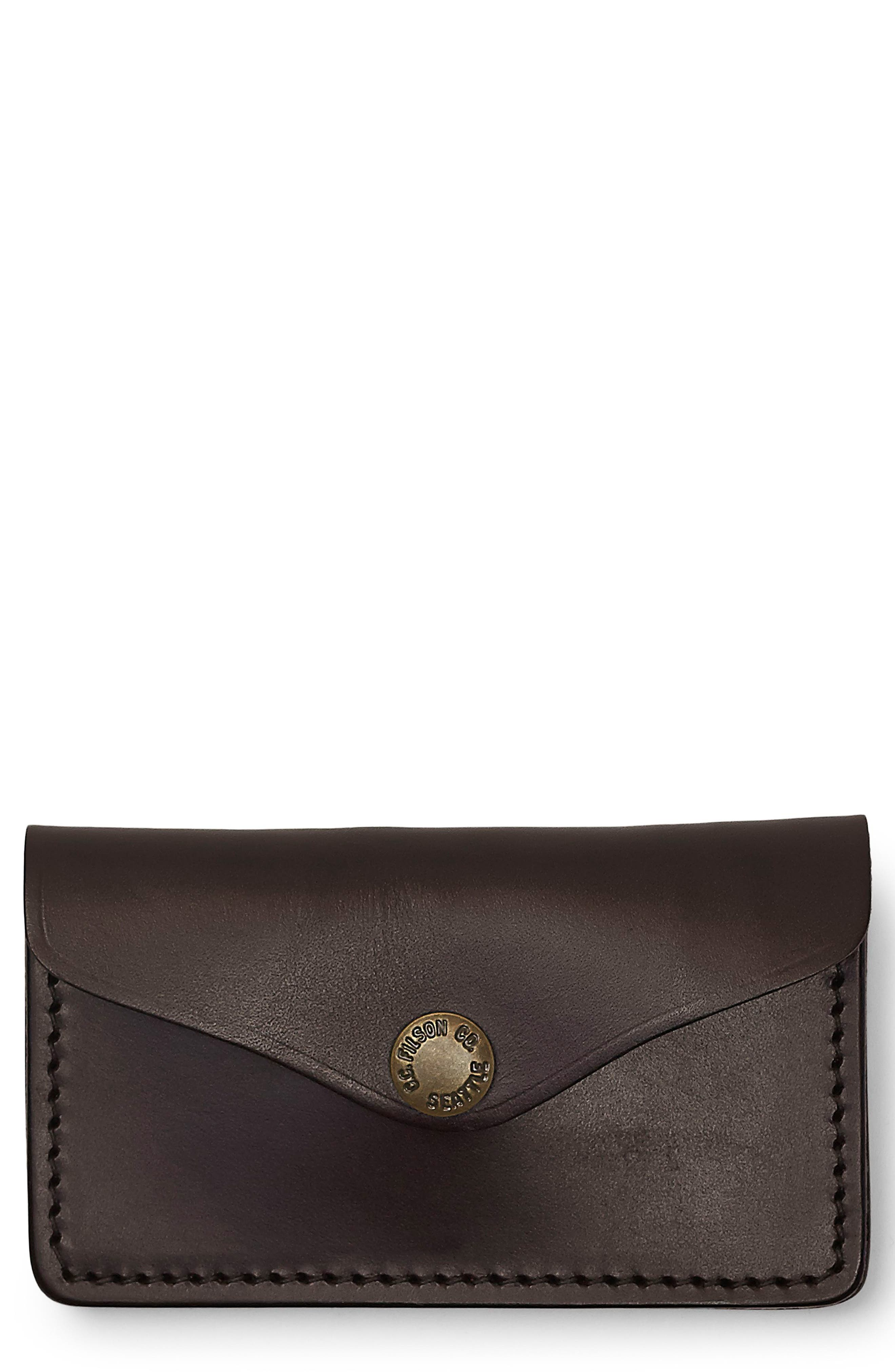 Snap Leather Wallet,                         Main,                         color, Brown