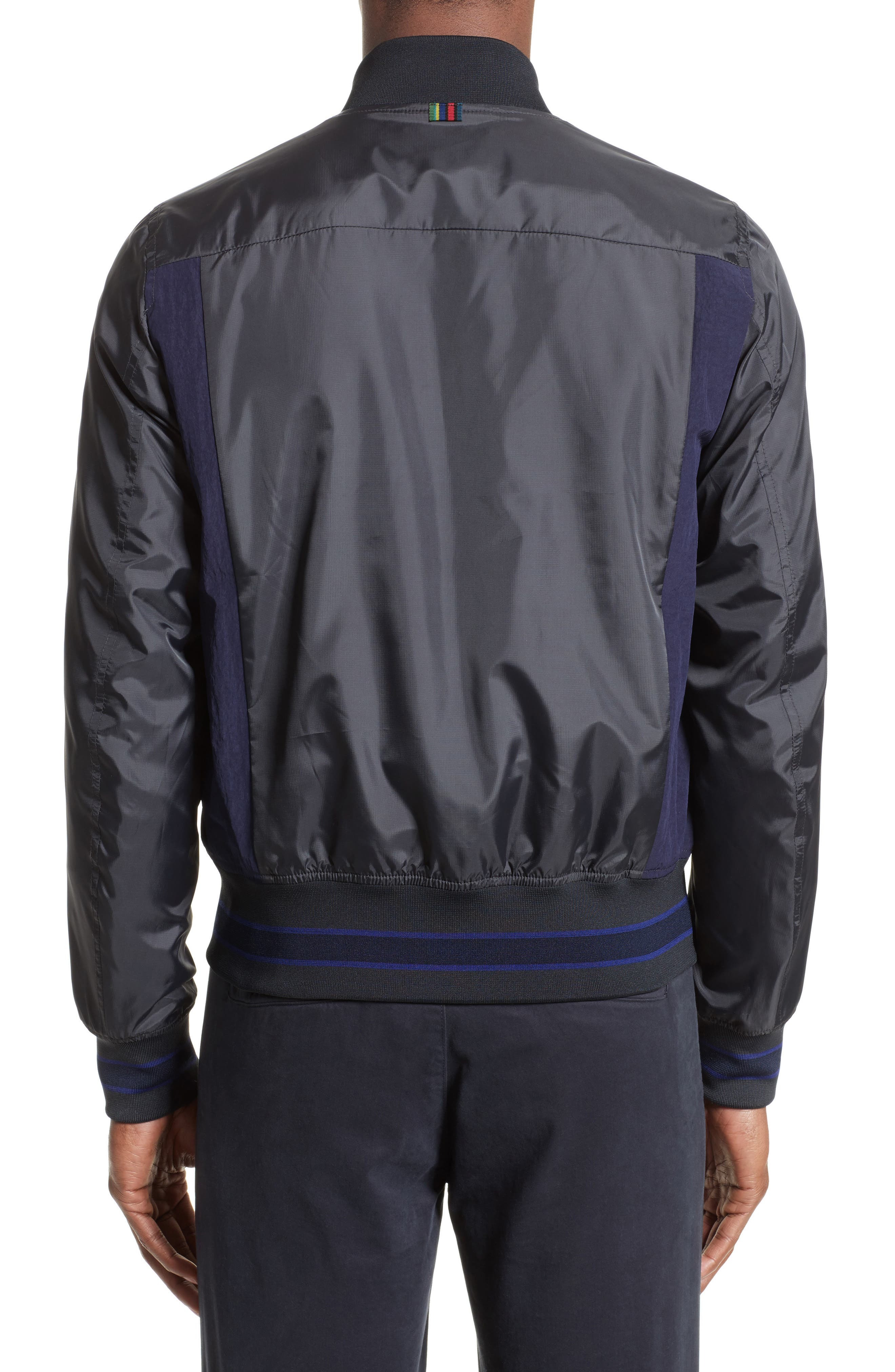 Colorblock Bomber Jacket,                             Alternate thumbnail 2, color,                             Black
