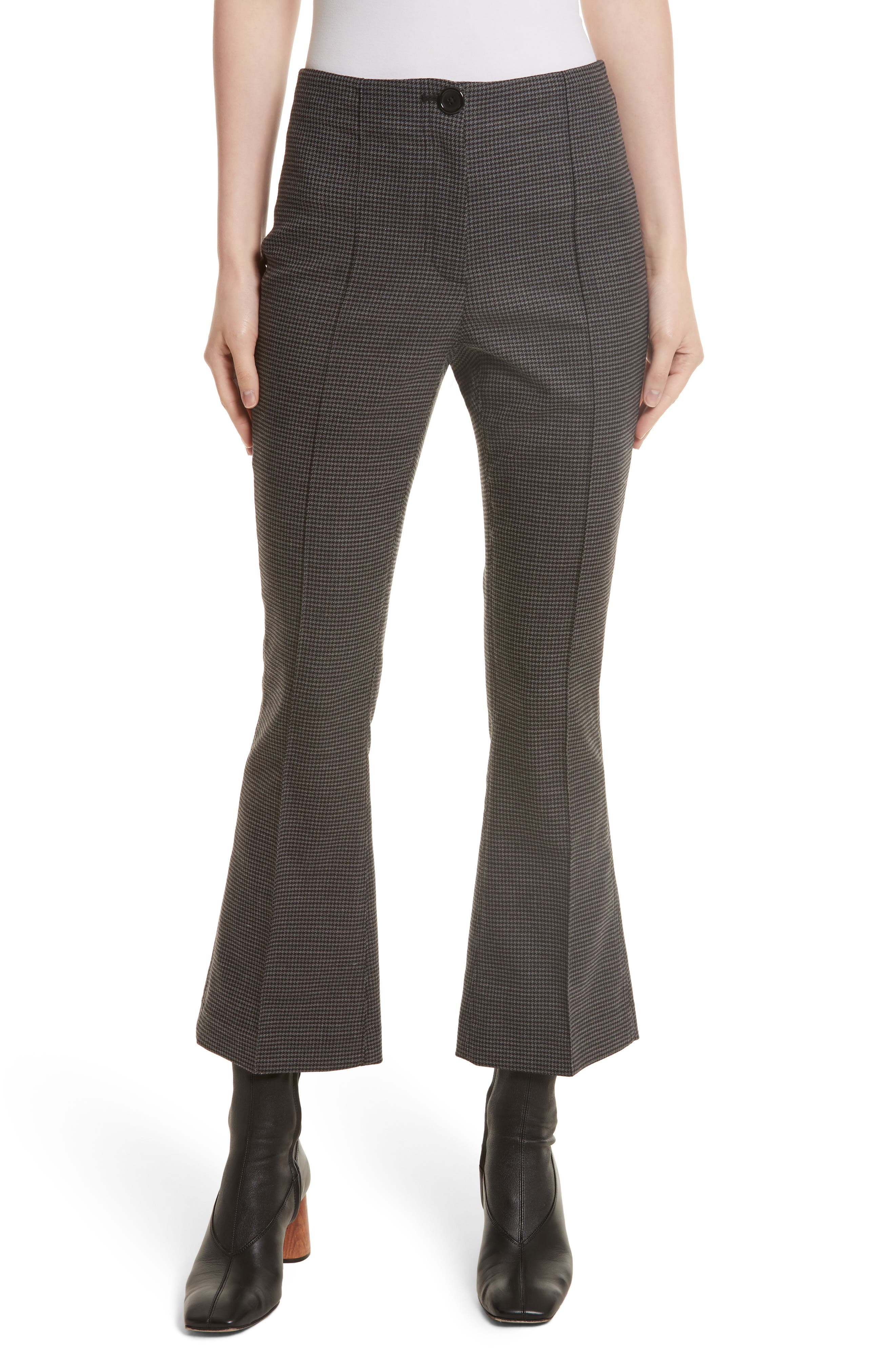 Helmut Lang Mini Houndstooth Crop Flare Pants