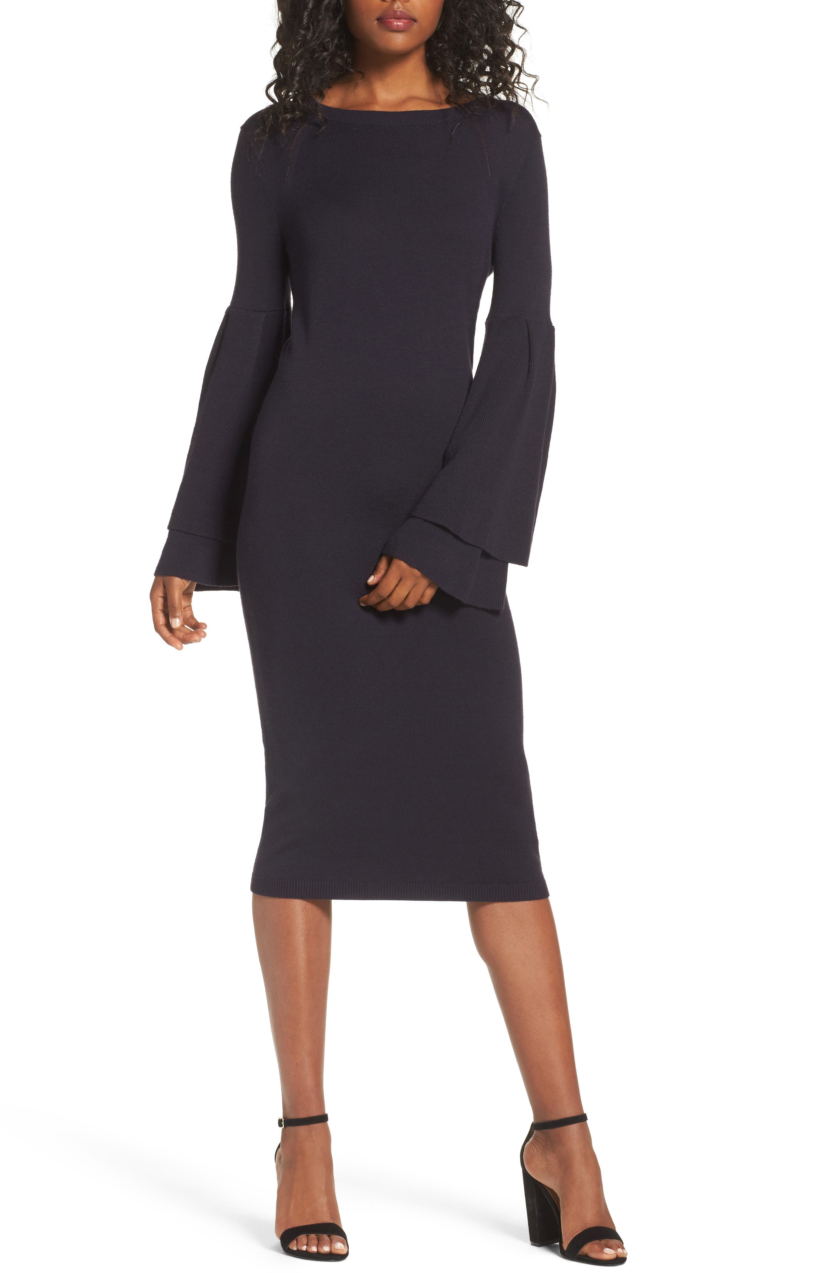 Bell Sleeve Sweater Dress,                         Main,                         color, Navy Well