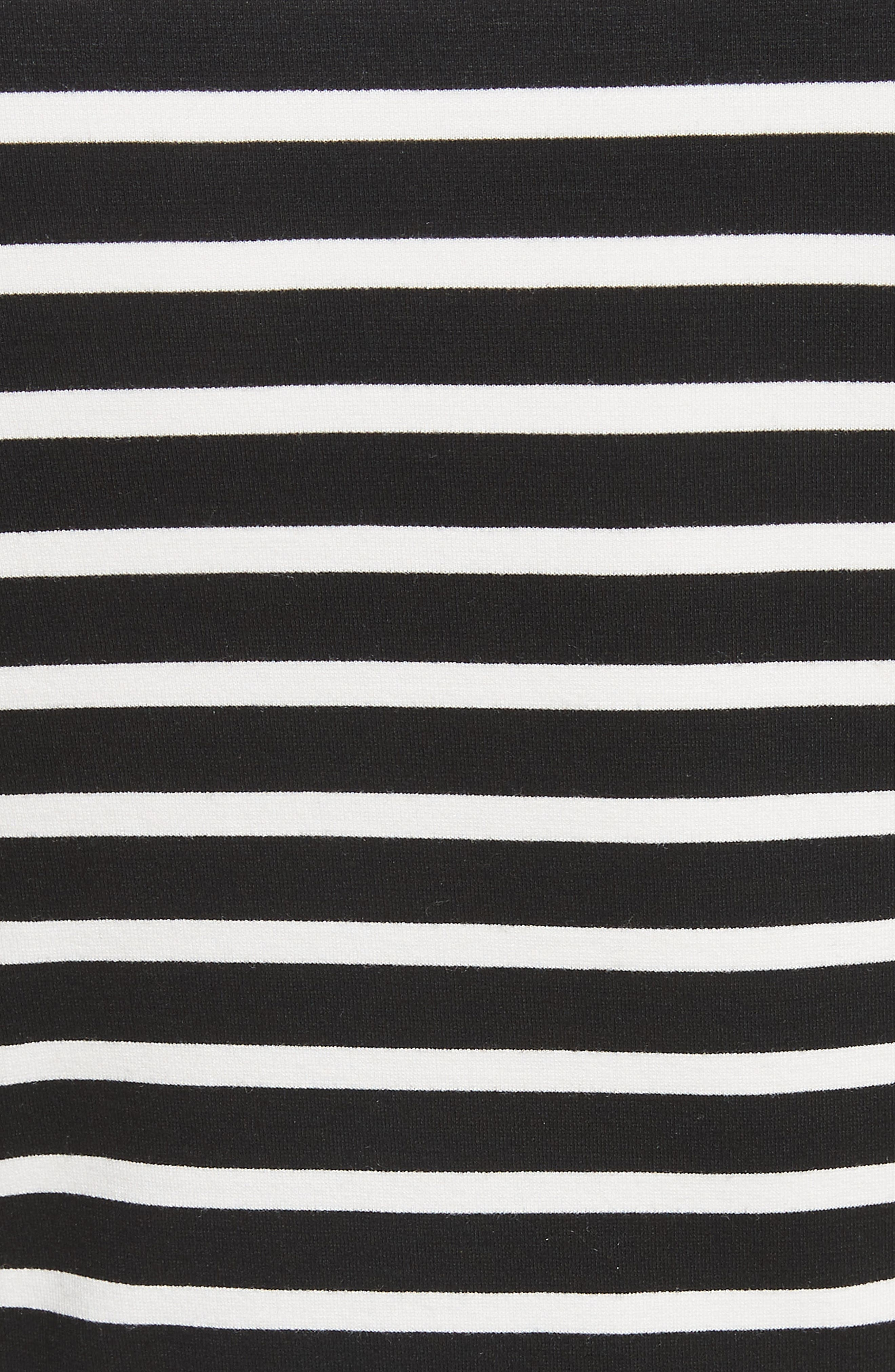 stripe fit-and-flare dress,                             Alternate thumbnail 5, color,                             Ivory