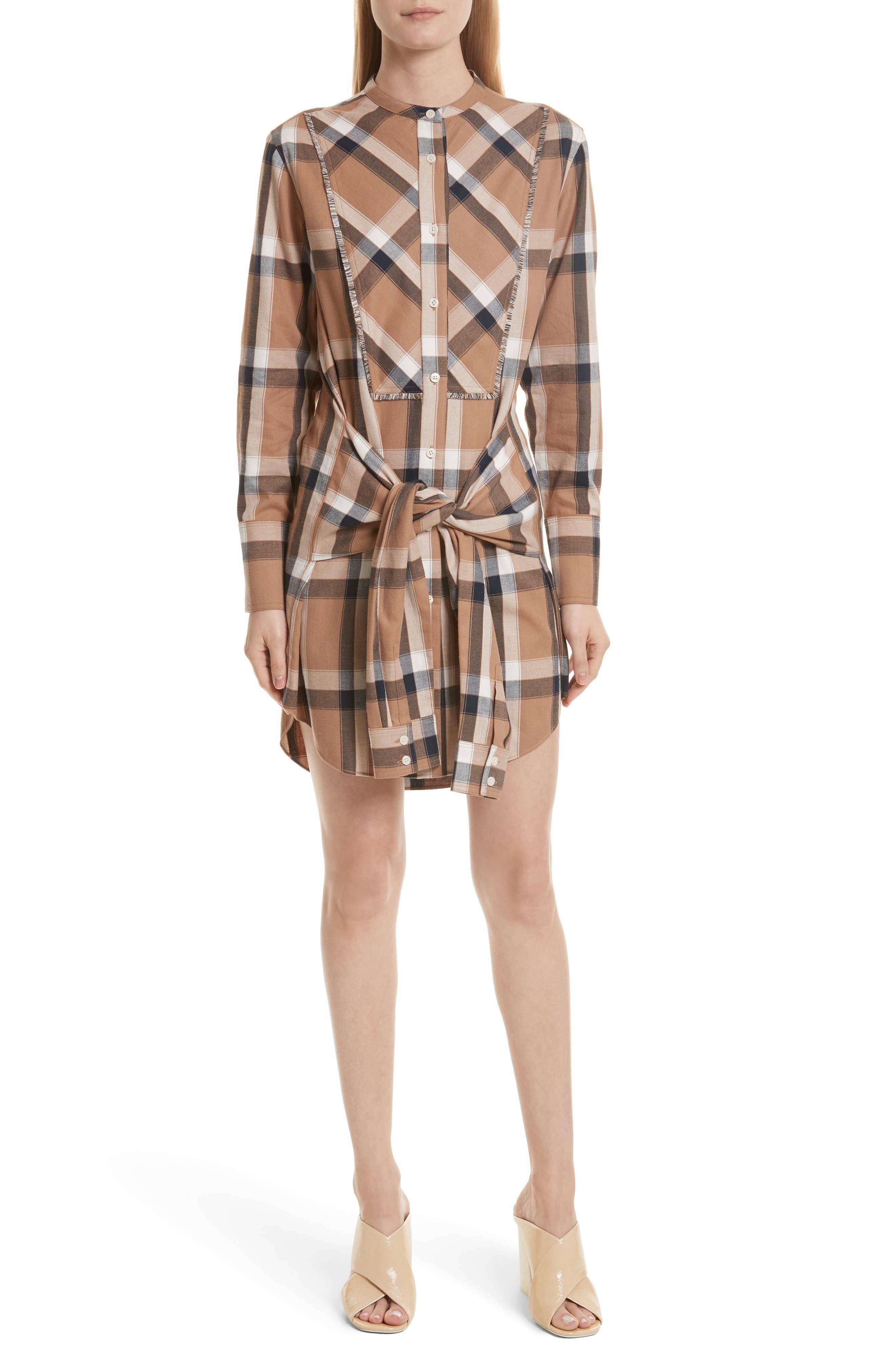 Alternate Image 1 Selected - Derek Lam 10 Crosby Plaid Tie Waist Dress