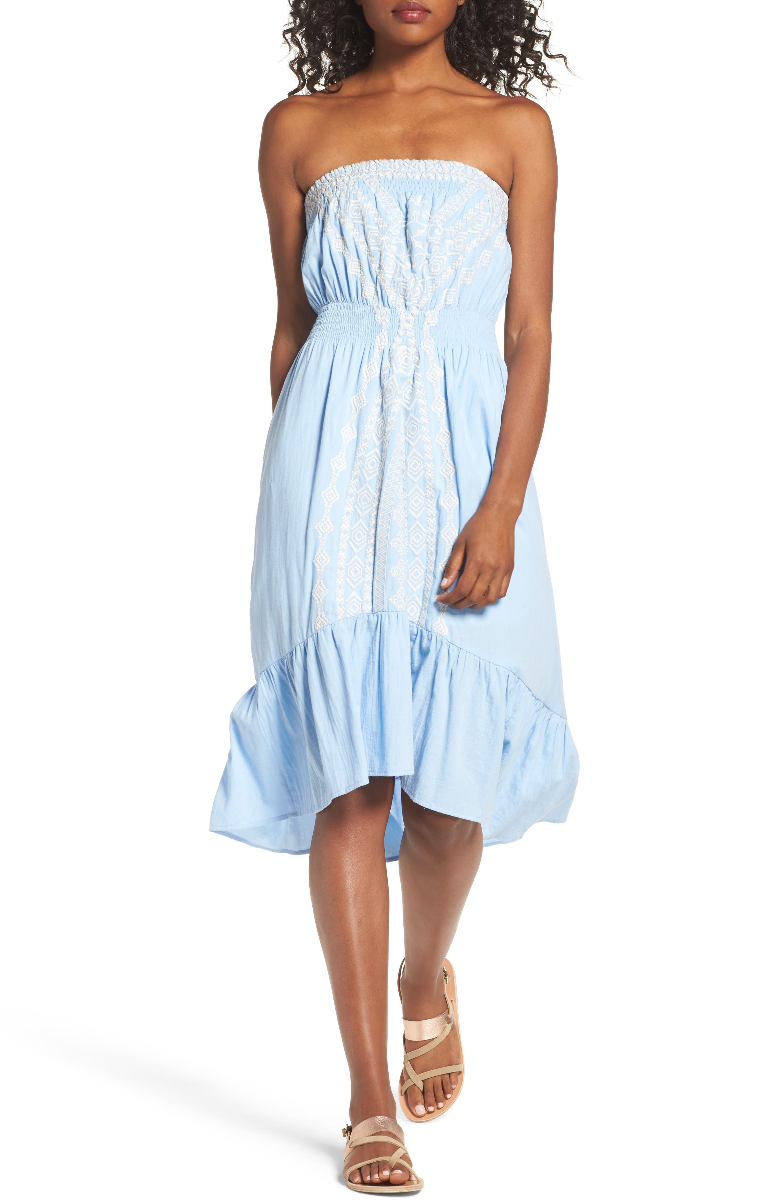 Strapless Midi Dress,                             Main thumbnail 1, color,                             Light Blue