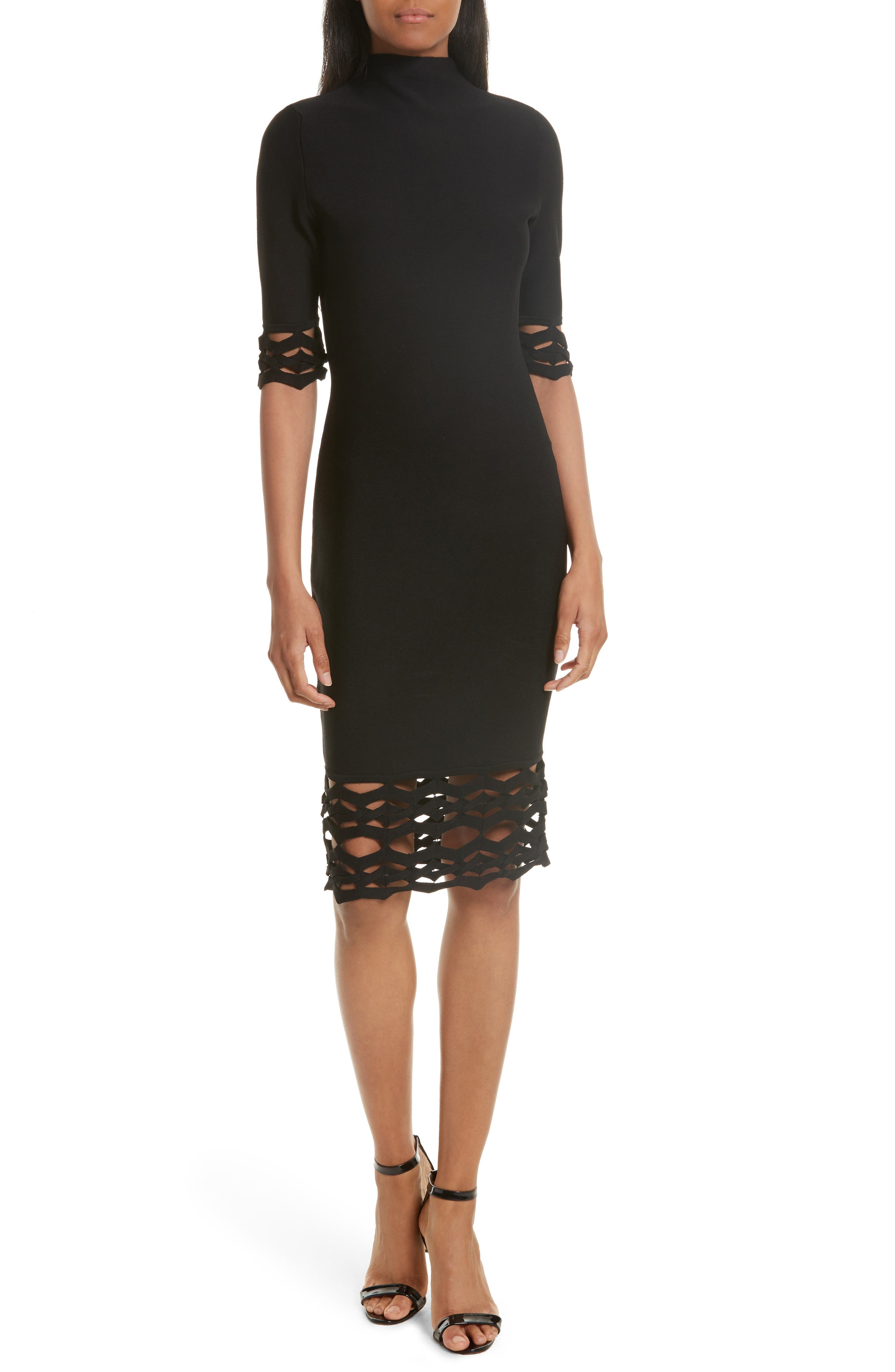 Cutout Detail Sheath Dress,                         Main,                         color, Black
