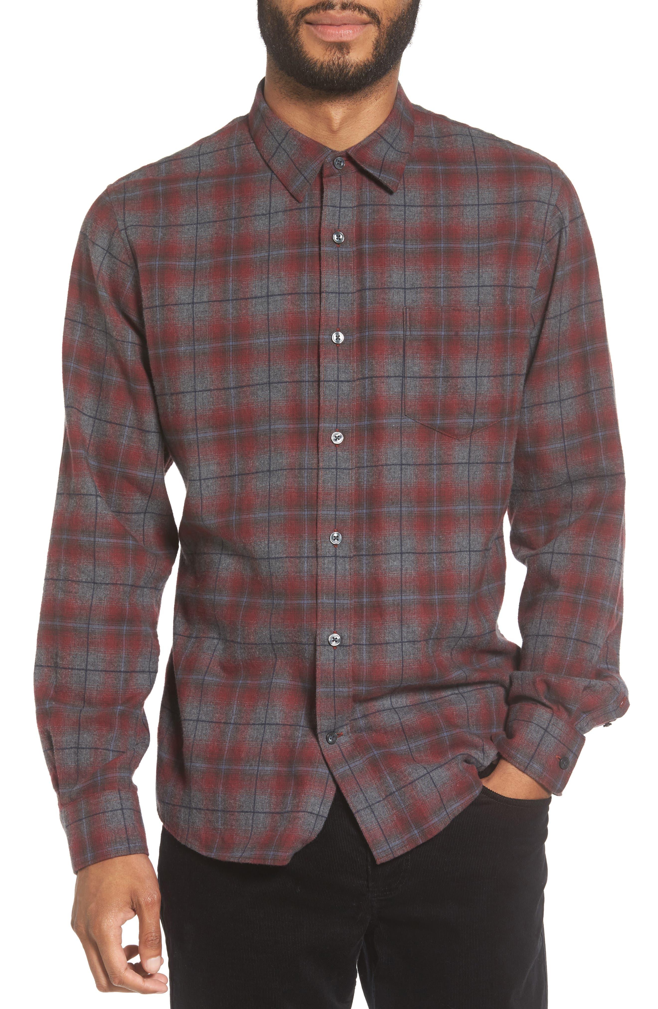 Vince Ombré Plaid Flannel Sport Shirt