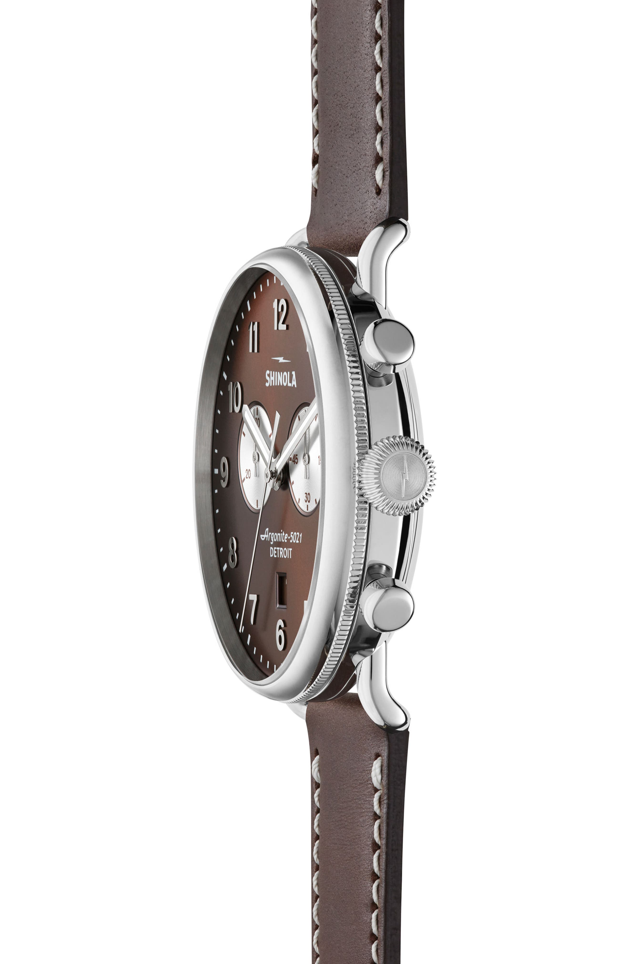The Canfield Chrono Leather Strap Watch, 43mm,                             Alternate thumbnail 3, color,                             Bourbon/ Silver