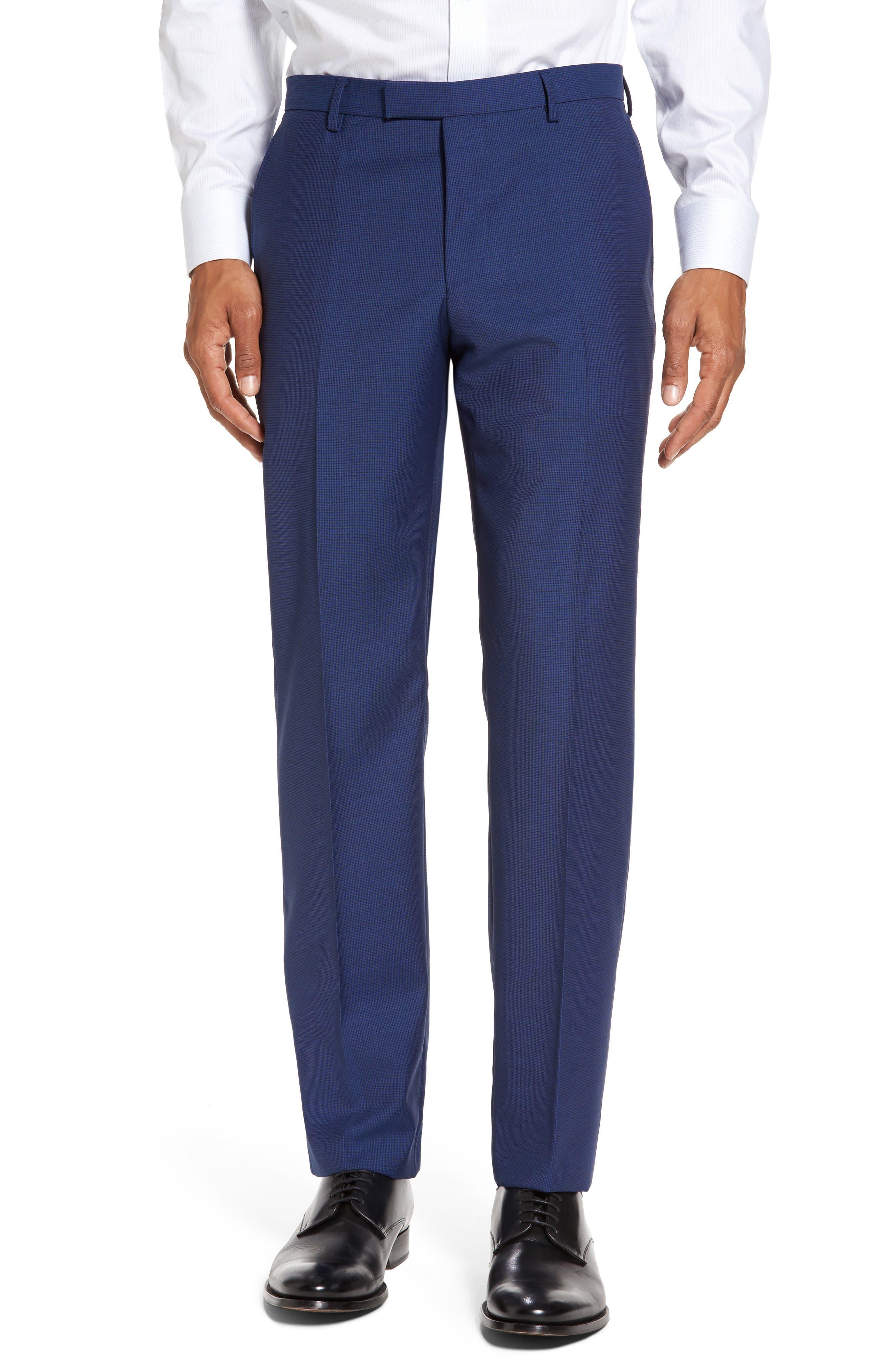 Trim Fit Solid Wool Suit,                             Alternate thumbnail 6, color,                             Bright Blue