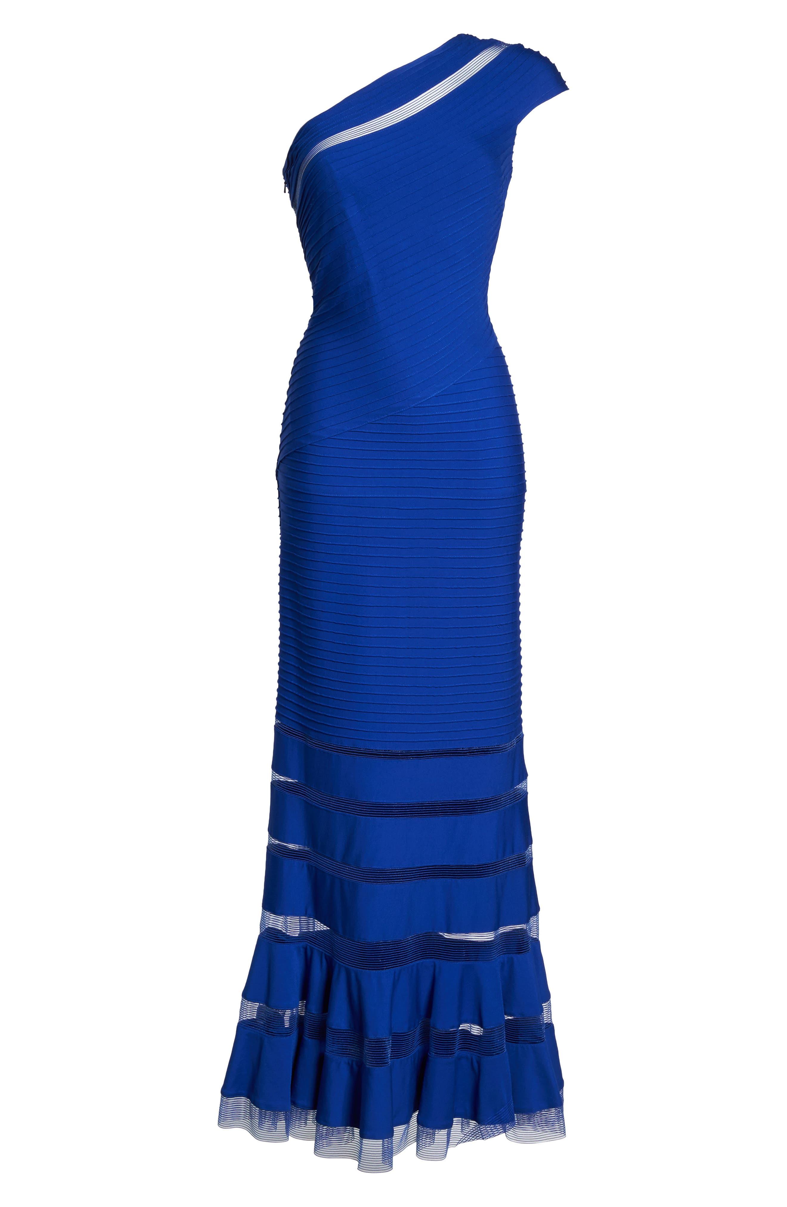 One Shoulder Illusion Gown,                             Alternate thumbnail 5, color,                             Mystic Blue