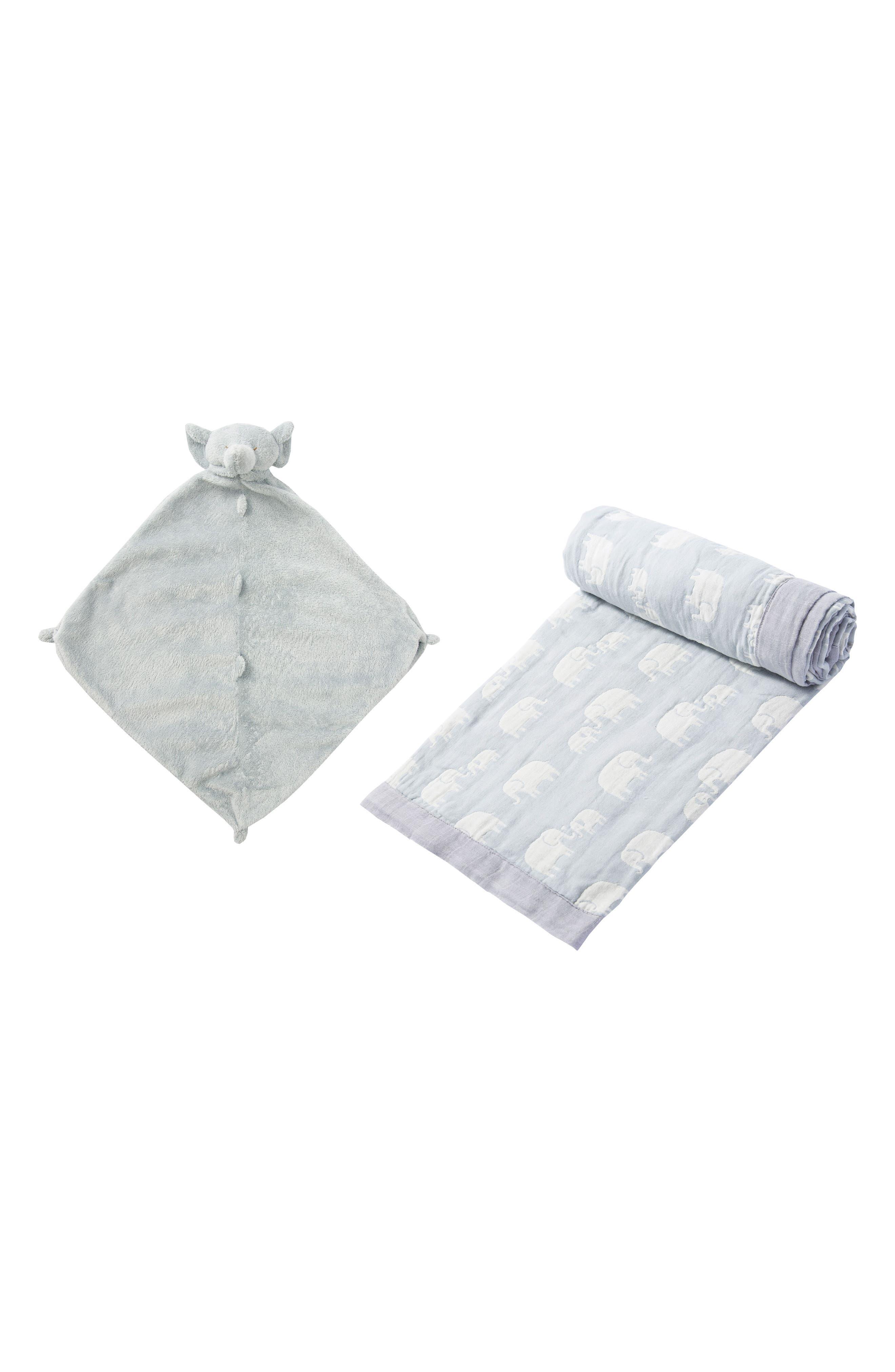 Jacquard Blanket & Blankie Set,                             Main thumbnail 1, color,                             Elephant
