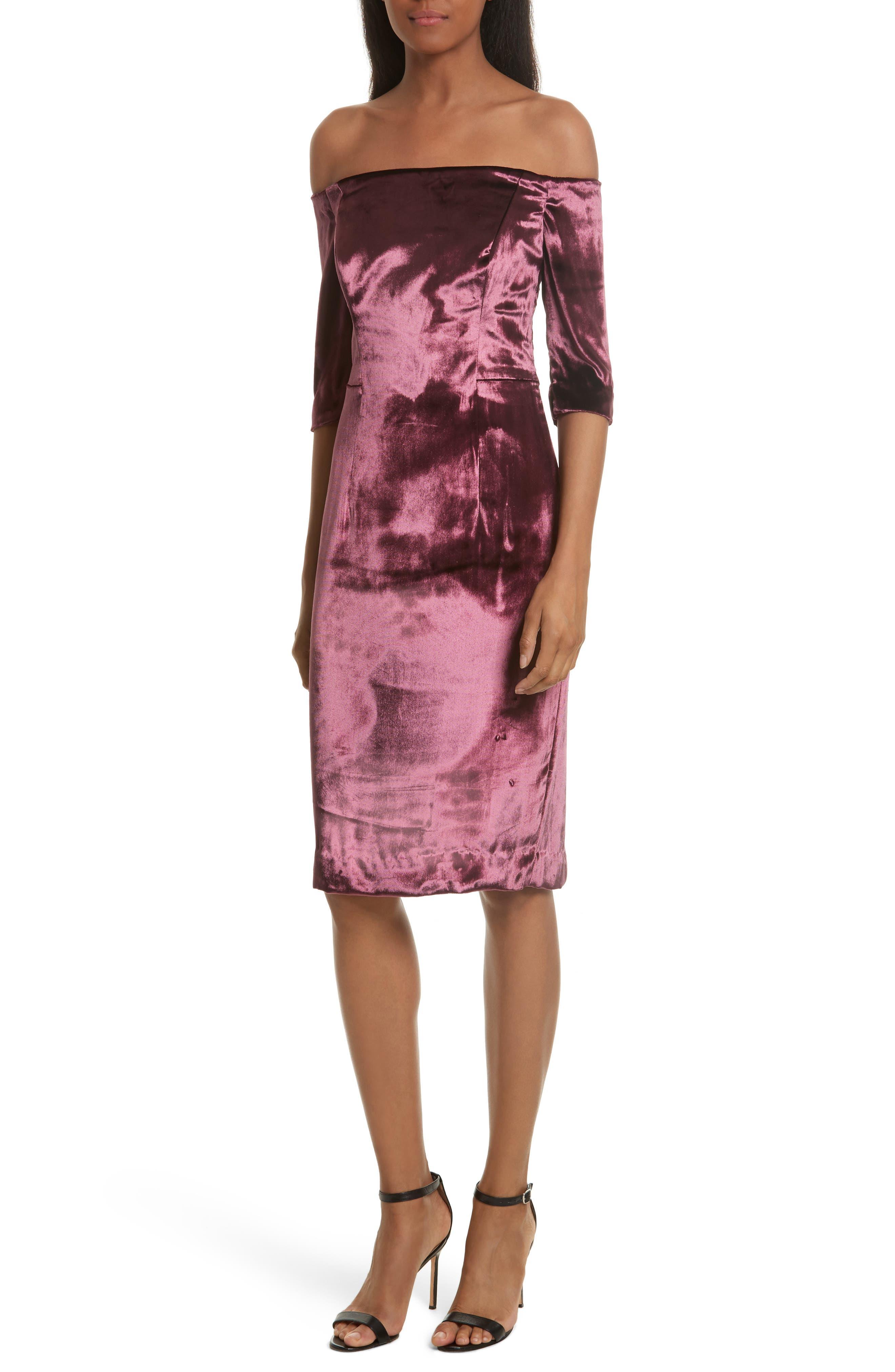 Panne Velvet Body-Con Off-the-Shoulder Dress,                             Main thumbnail 1, color,                             Burgundy