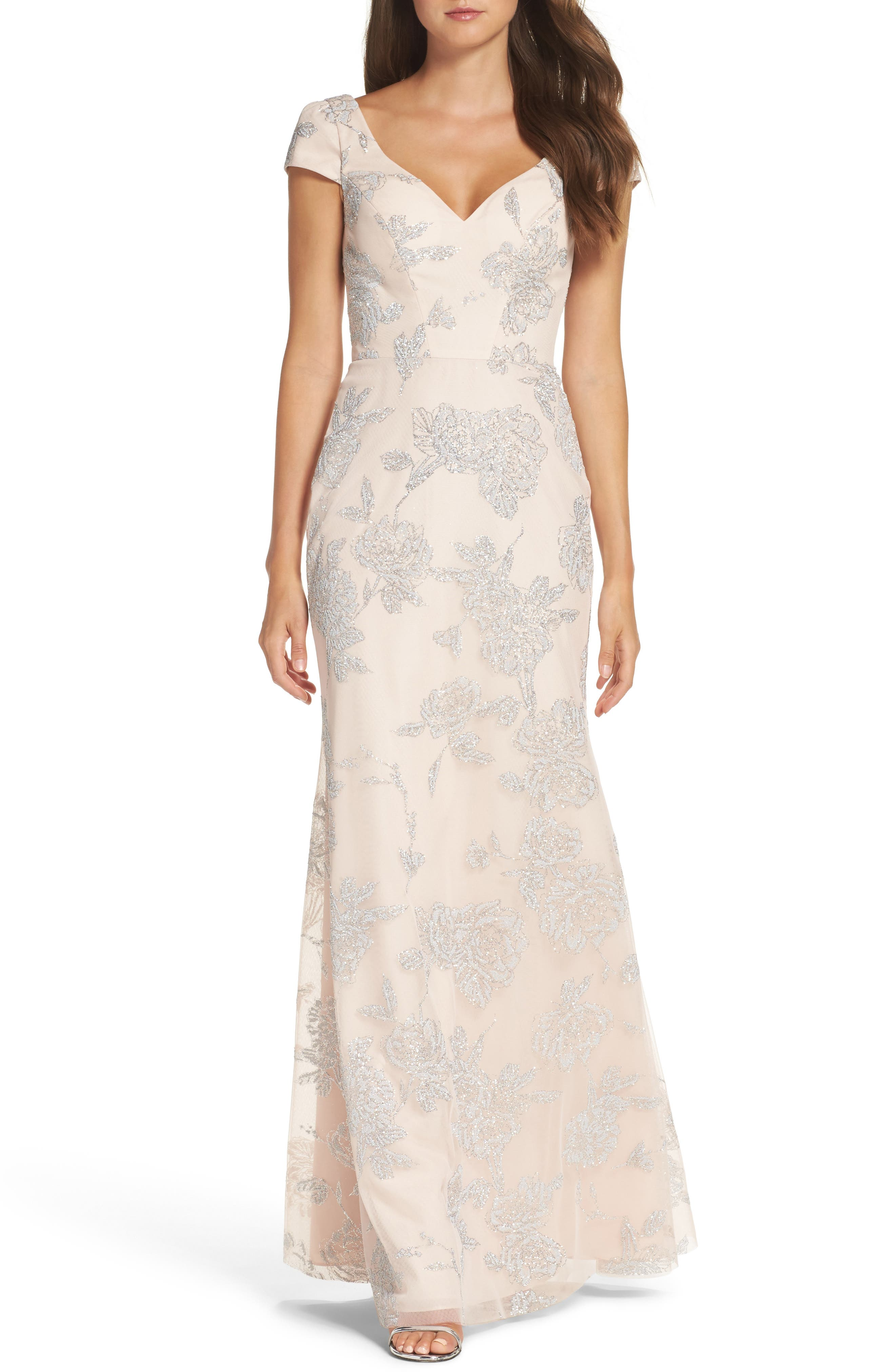 Beaded Trumpet Gown,                         Main,                         color, Almond